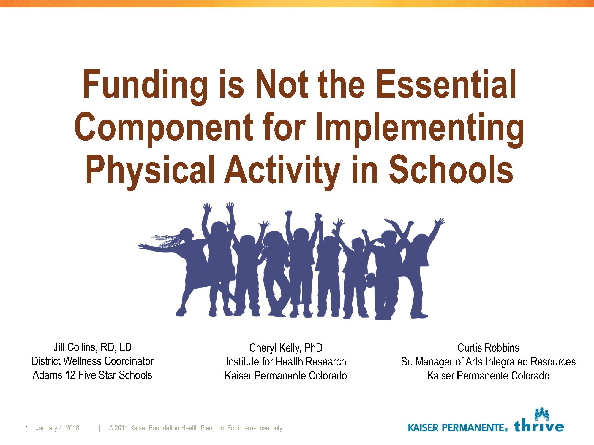 Thriving Schools Physical Activity at Recess Regional Presentation 2016