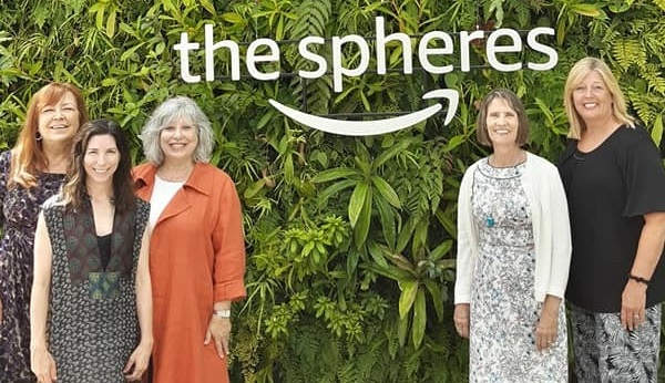 From left: Kate Becker, Creative Economy Strategist, Office of the King County Executive; CFR Editor Shawn Lent; Robin Avni, ArtsWA Commissioner; Karen Hanan, Executive Director, Washington State Arts Commission; and Mary Anne Carter, Chairman, National Endowment for the Arts; during a tour of the Amazon Spheres and Arts Lab, August 2019.