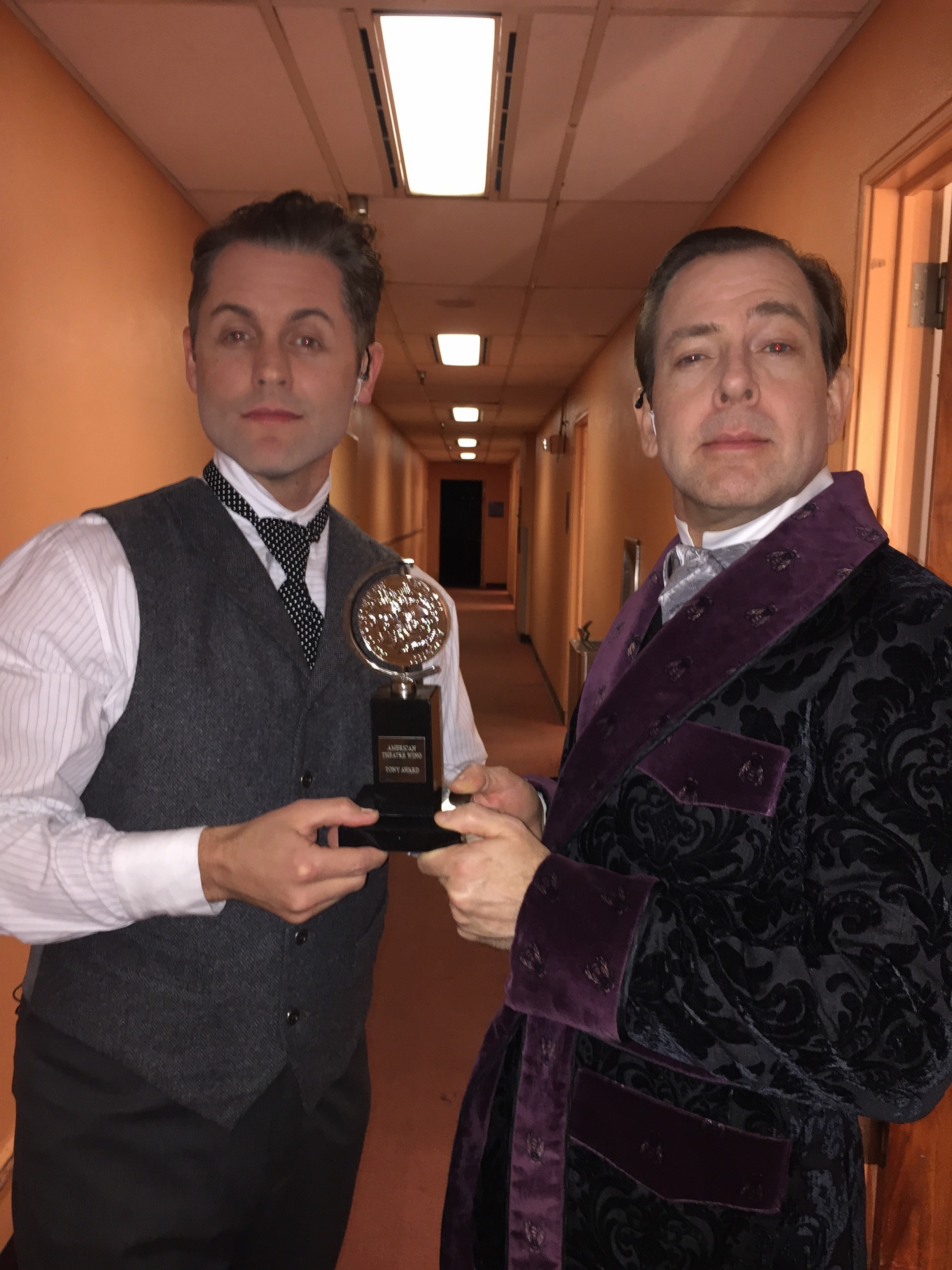 """Michael as """"Monty Navarro"""" and Greg Jackson as """"The D'Ysquiths"""" in  A Gentleman's Guide to Love and Murder  promo concert."""