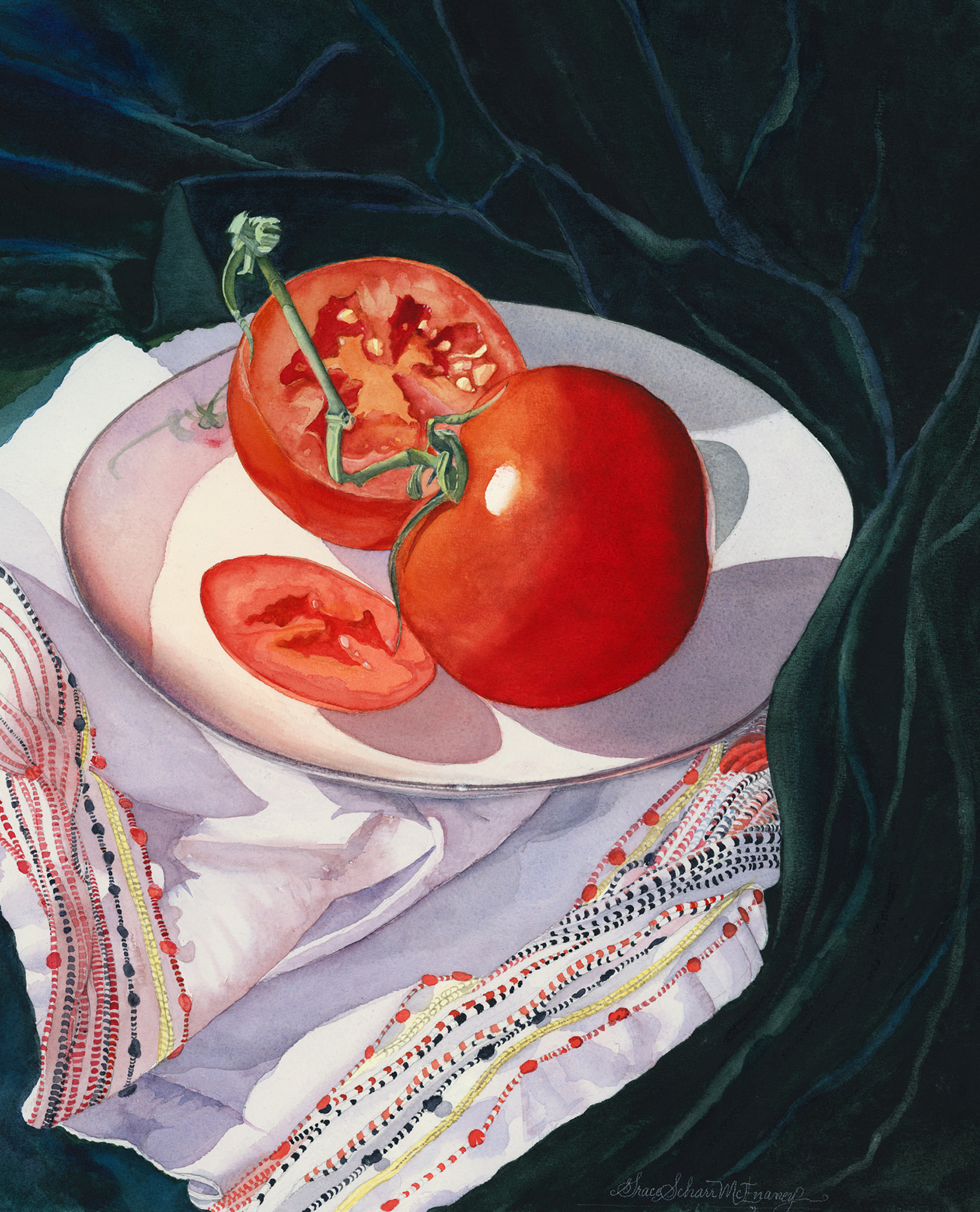 """Tomatoes on Vintage Plate"" 23' x 26"""