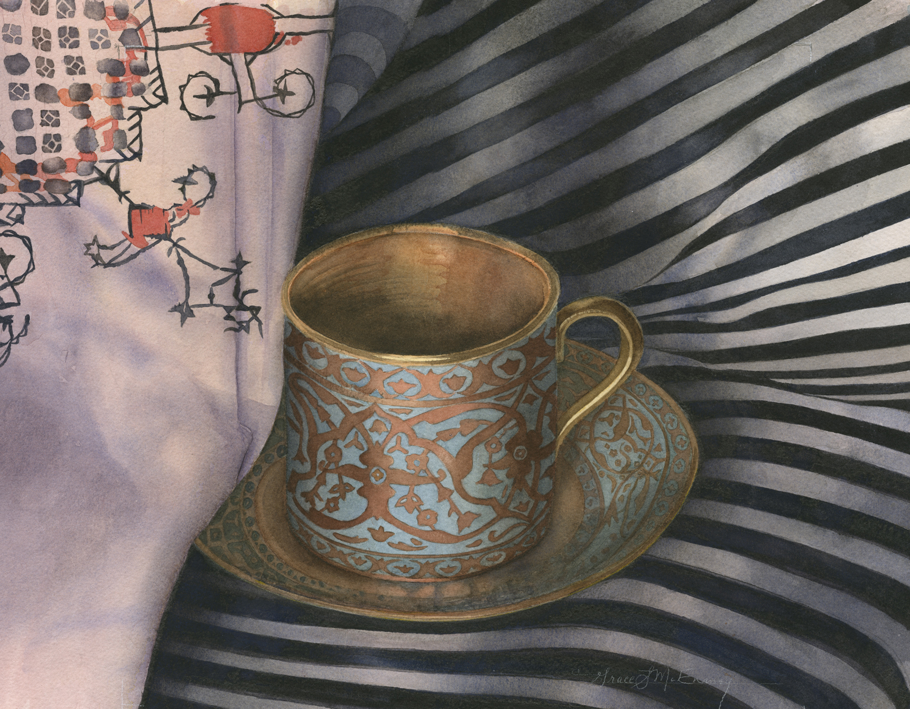 """""""Egyptian Cup on Striped Cloth"""" 20 1/2"""" x 21 1/2"""""""