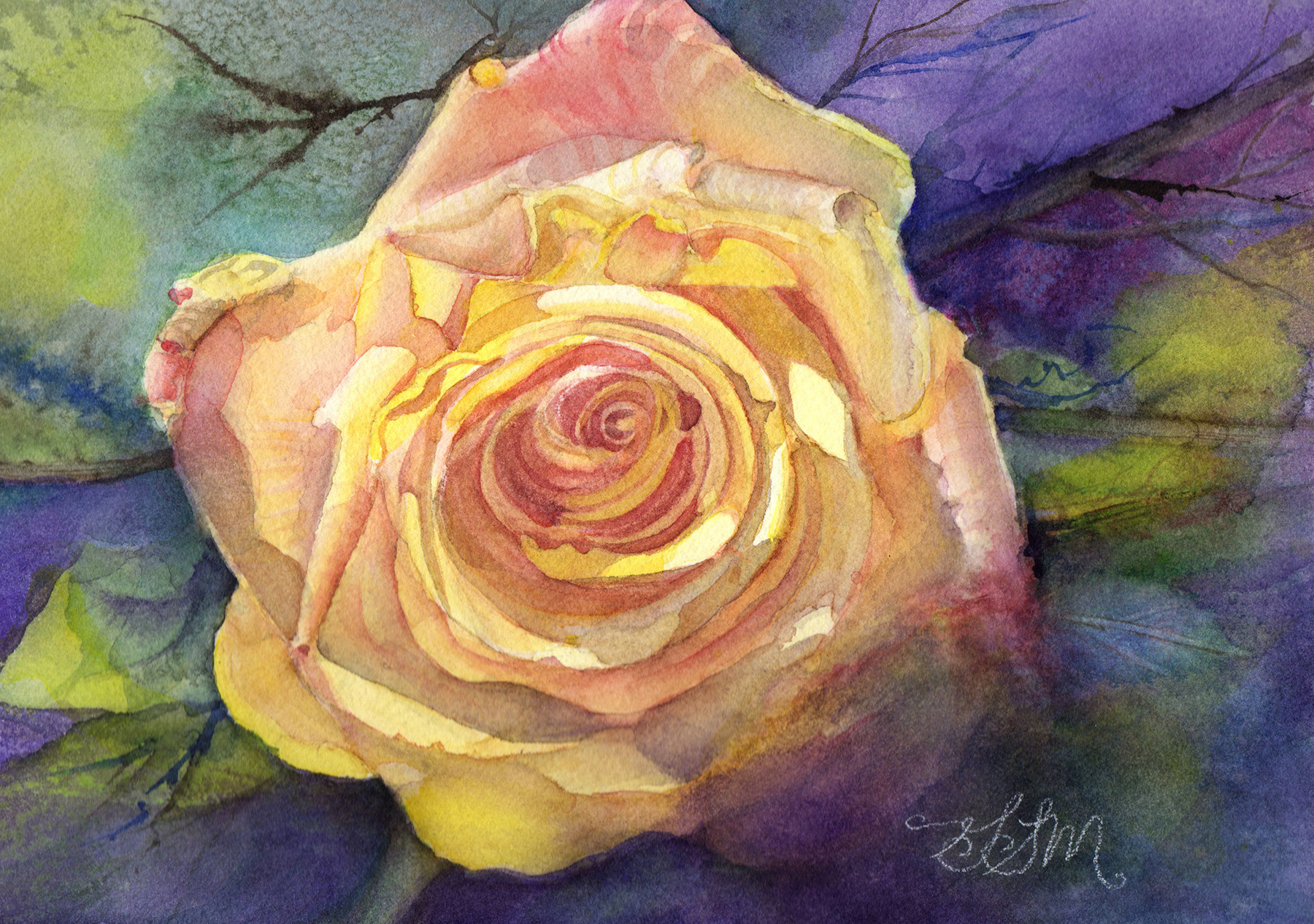 """Yellow Rose"" 9"" x 12"""