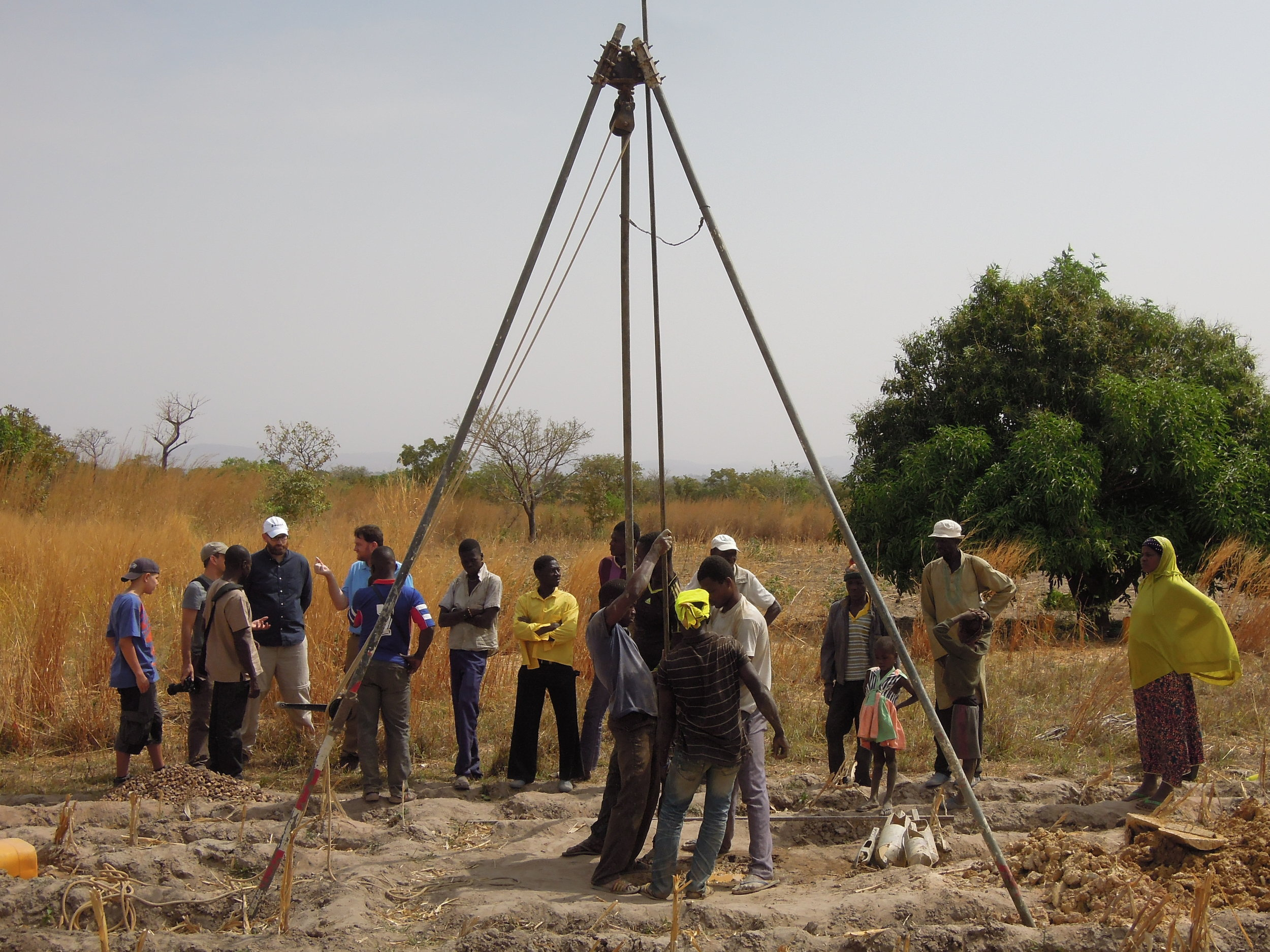 We visited this drilling team, constructing a new well in a village near Kara, Togo. Water4's drilling teams use manual drilling techniques to bore through rock and dirt.