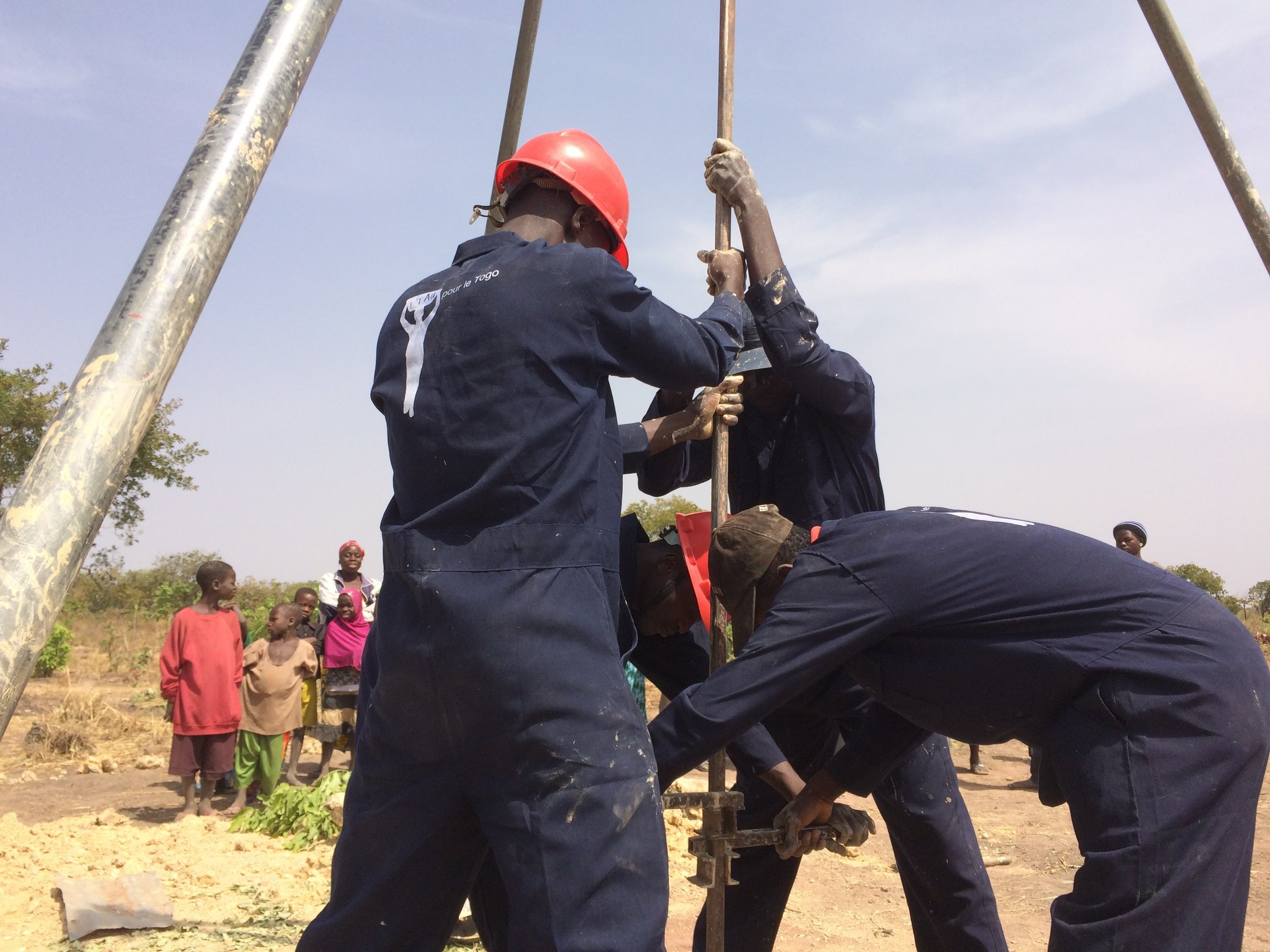 Due to clean water being abundant less than 100 feet from the surface in Togo (shallower than in most countries), a fuel-powered drilling rig is not necessary to drill wells there.