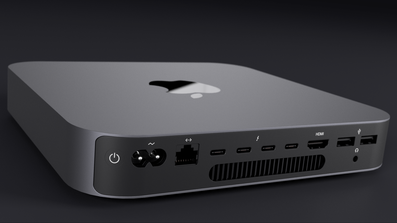 "Apple updated the Mac Mini last month, adding an optional 6-core Intel Coffee Lake (Core i7 8700B) processor configuration, Thunderbolt 3 (USB Type C interface), and a ""Space Gray"" makeover. using photos from Apple's product page, I reconstructed the IO layout and customized material and appearance settings.  You can download my model here."