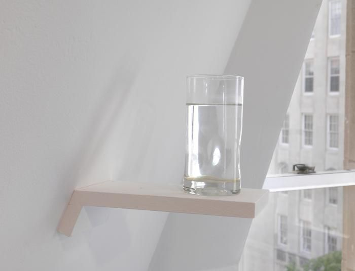 William Pope.L, Well (detail), 2013. 3 glasses of water on 3 shelves (from Forlesen)
