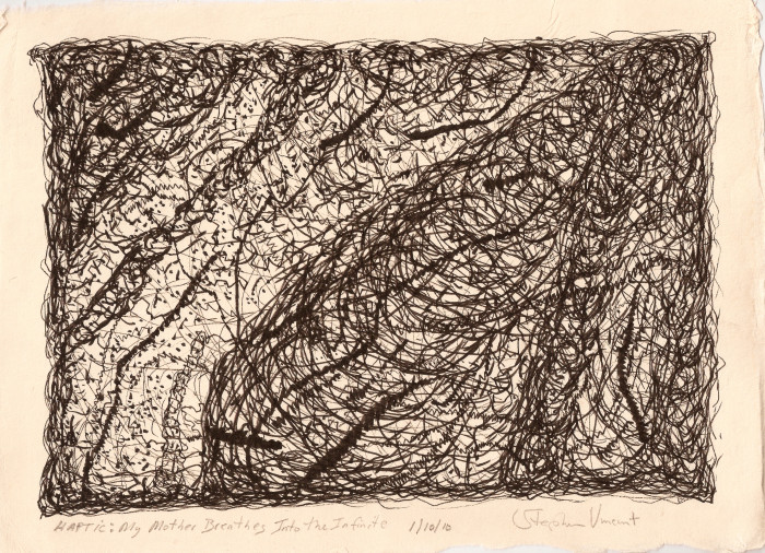 "Stephen Vincent. Haptic: My Mother Breathing Into the Infinite (2010). (Ink on Paper, 12 x 8.5""). Collection of Jane Reed. Courtesy of the artist"