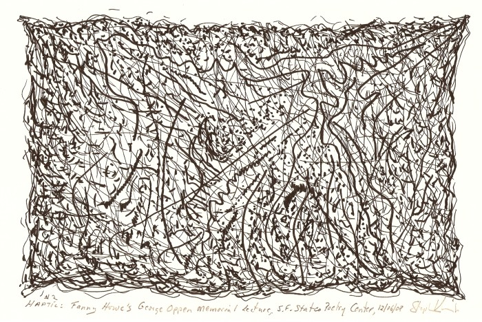 "Stephen Vincent. Haptic: Fanny Howe's George Oppen Memorial Lecture, S.F. State Poetry Center (2008). Ink on paper, 11 x 8.5"". Courtesy of the Artist."