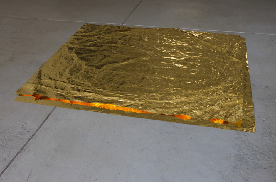 """Roni Horn, """"Paired Gold Mats, for Ross and Felix,"""" 1994-5. Gold, 49 x 60 x .0008 in."""
