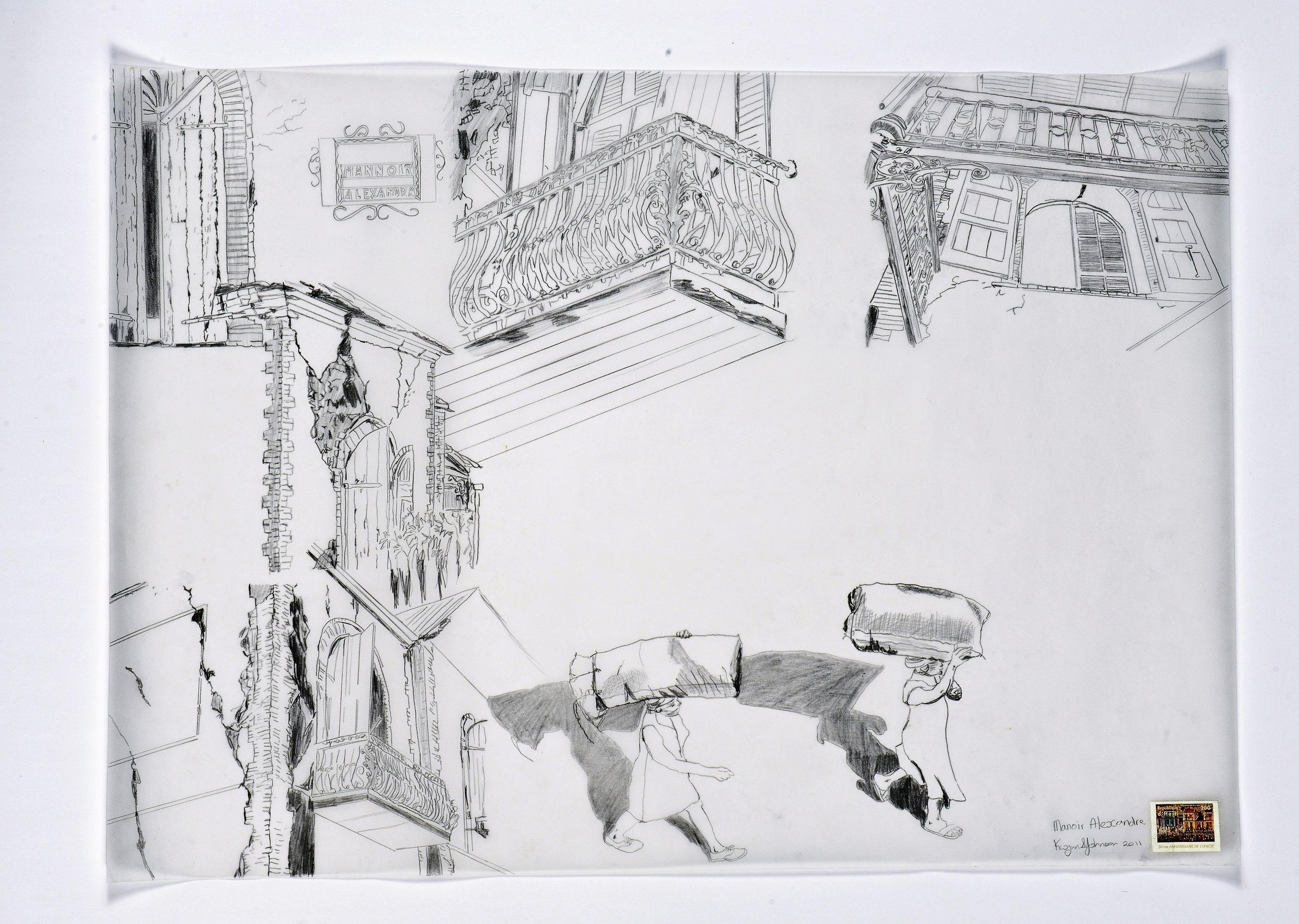 Kwynn Johnson.  Hadriana dans tous mes rêves , 2011. Graphite on Vellum, 2x3 ft. Exhibition:  How the Light Enters  (2013, Trinidad & Haiti).