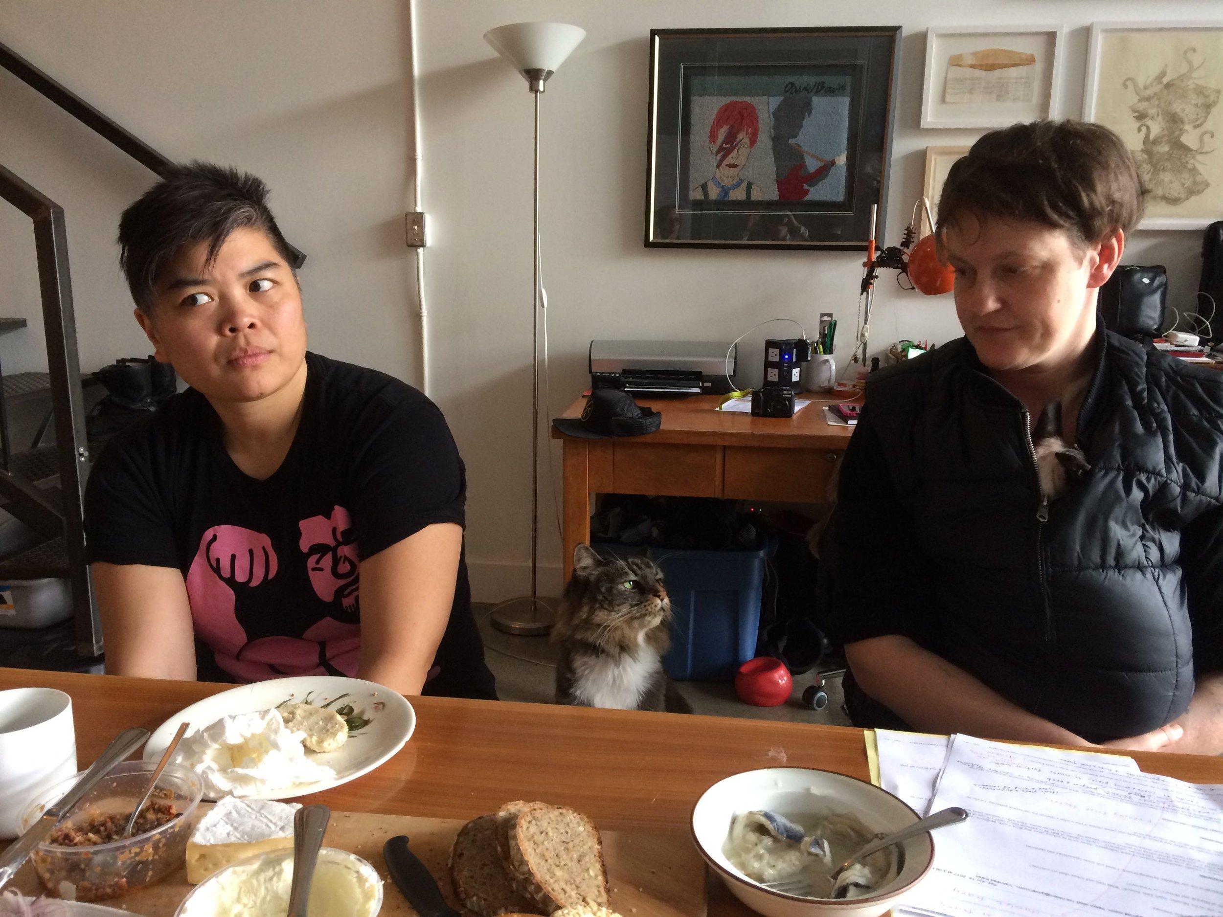 Vanessa Kwan and Hannah Jickling preparing brunch, April 24, 2017. Photo by Liz Park