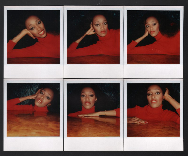Antonio Lopez,  Amina Warsuma, NYC 1976 . Polaroid SX-70, 4.25×3.5 in. each. Courtesy of The Estate of Antonio Lopez and Juan Ramos.