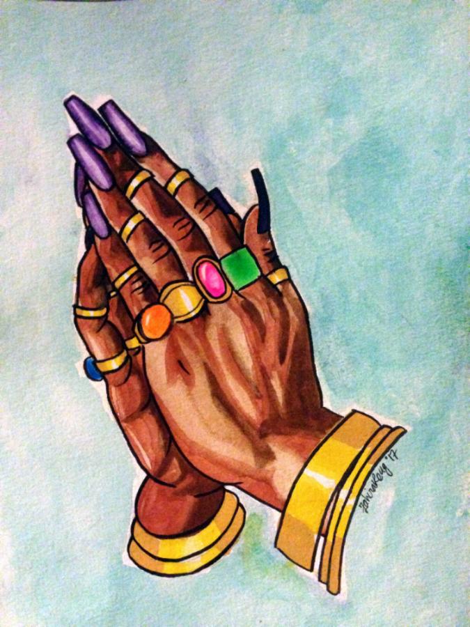 Figure 12. Zahira Kelly, Praying Hands, 2017. Image courtesy of Zahira Kelly.