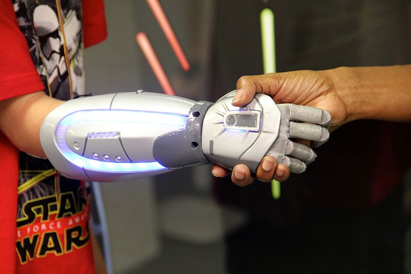 Figure 2: Star Wars Bionic Hand. (Wikimedia Commons: 3D printed prosthetic hand made by Open Bionics in collaboration with ILM XLab, https://bit.ly/2vOSMrF)