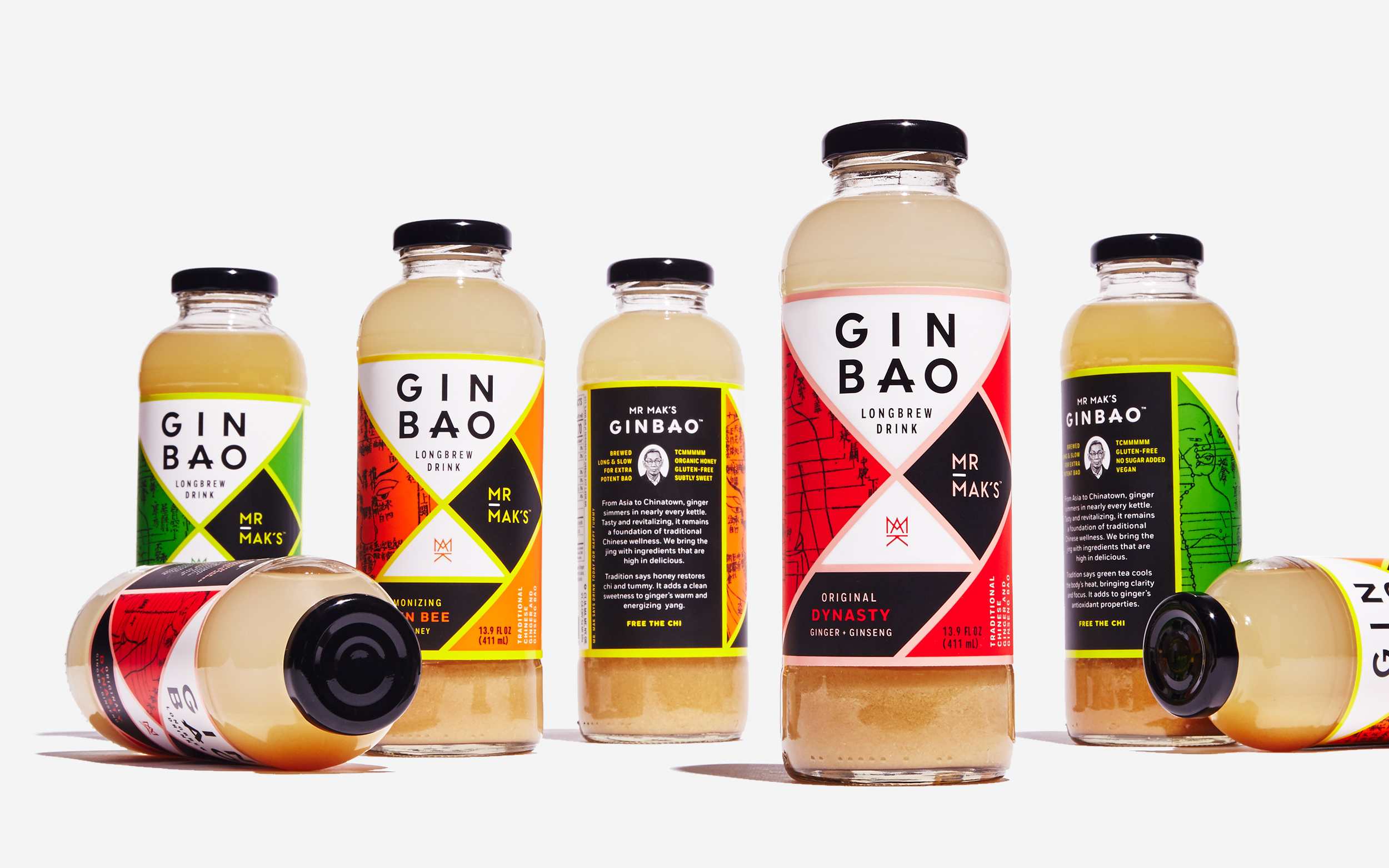 Mr. Mak's Ginbao packaging design. Dynasty, Queen Bee, and Dragonwell bottles. Designed by Abby Haddican at Werner Design Werks.