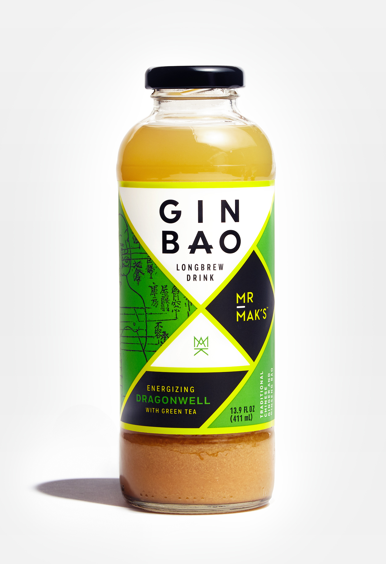 Mr. Mak's Ginbao packaging design. Energizing Dragonwell flavor. Designed by Abby Haddican.