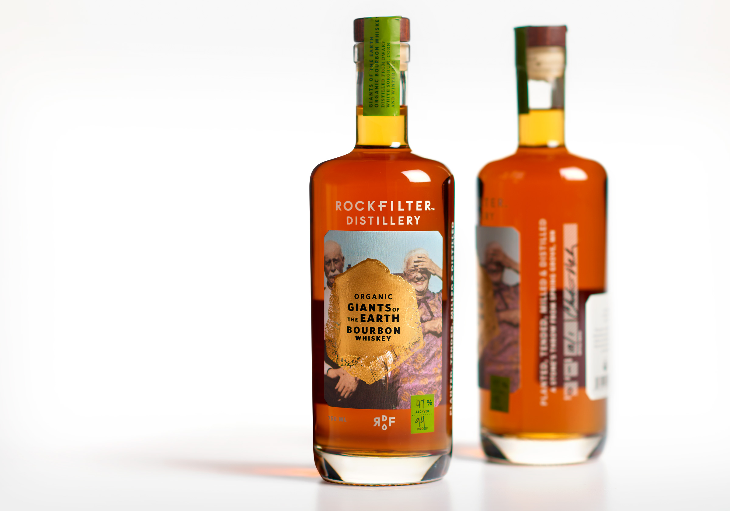 RockFilter Giants of the Earth Bourbon whiskey packaging designed by Abby Haddican and Sarah Forss at Werner Design Werks