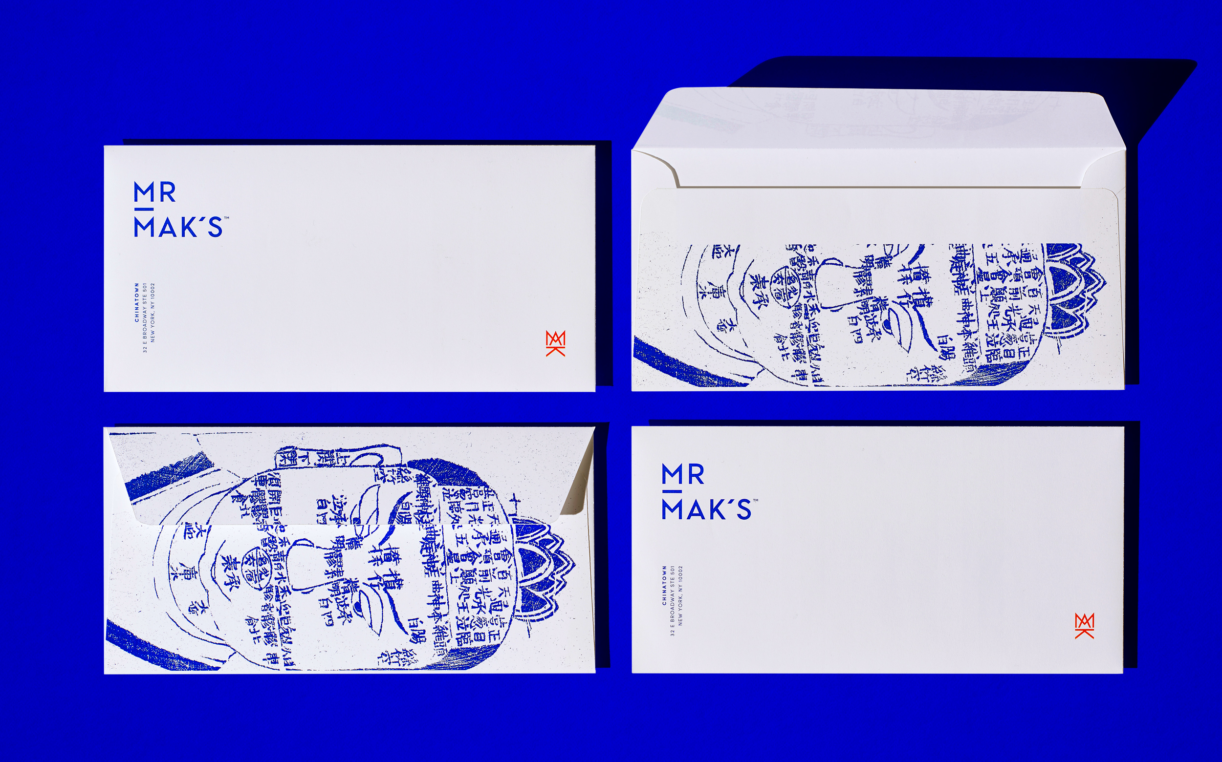 Mr. Mak's brand identity, custom stationery. Designed by Abby Haddican at Werner Design Werks.