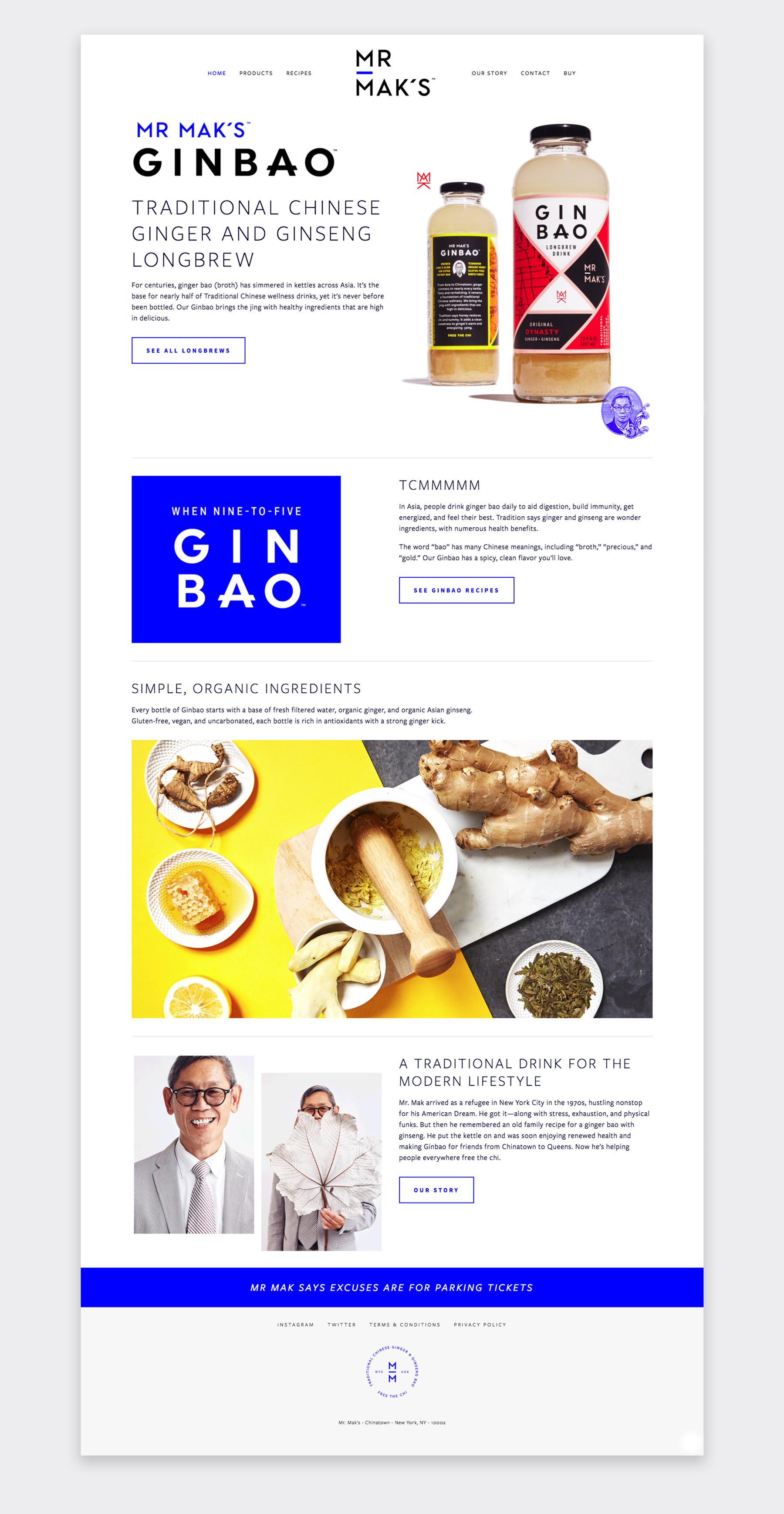 Website for Mr. Mak's Ginbao, designed by Abby Haddican.