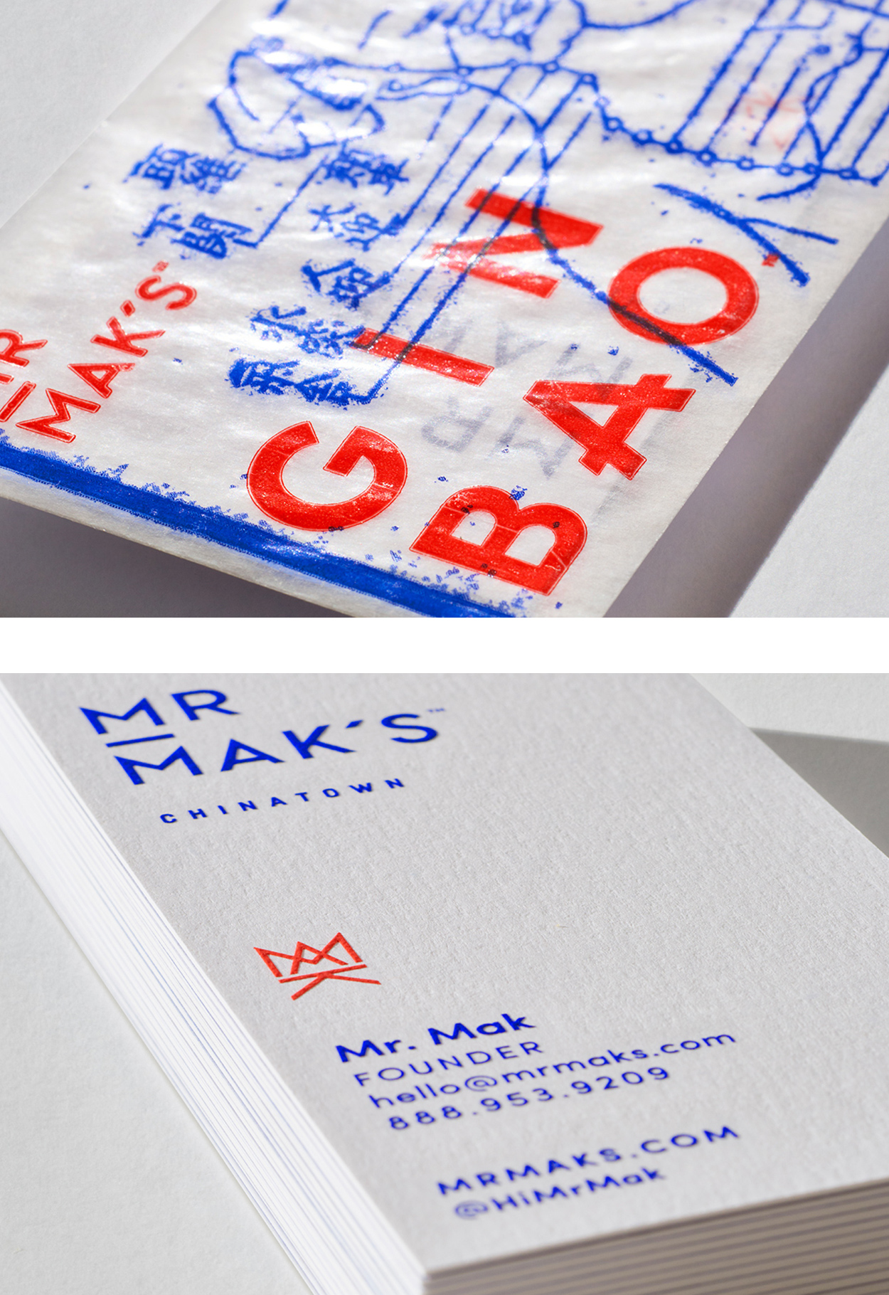 Mr. Mak's  collateral and business card detail, designed by Abby Haddican at Werner Design Werks.