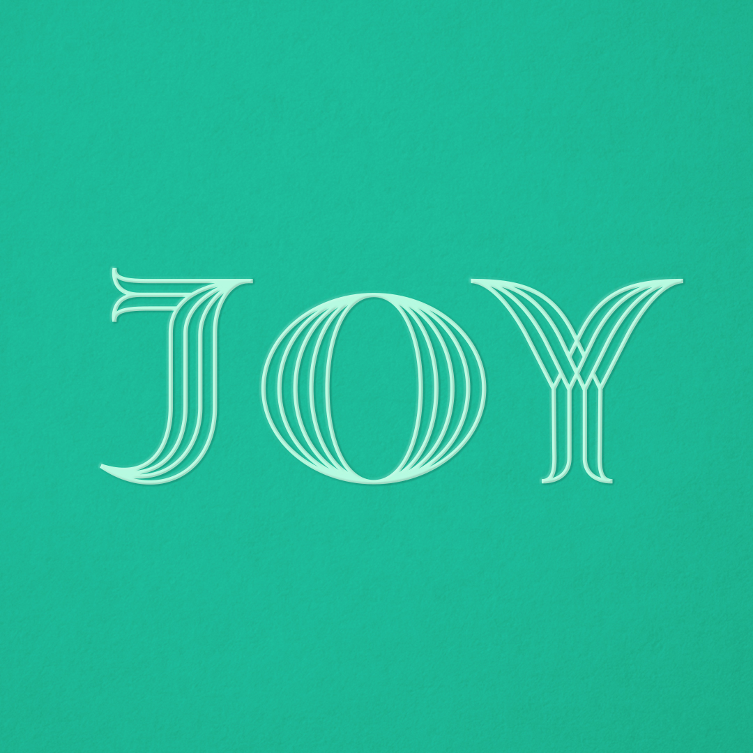 JOY custom typography designed by Abby Haddican