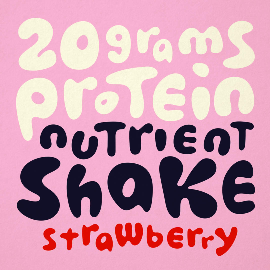 Custom typography for protein energy drink designed by Abby Haddican.