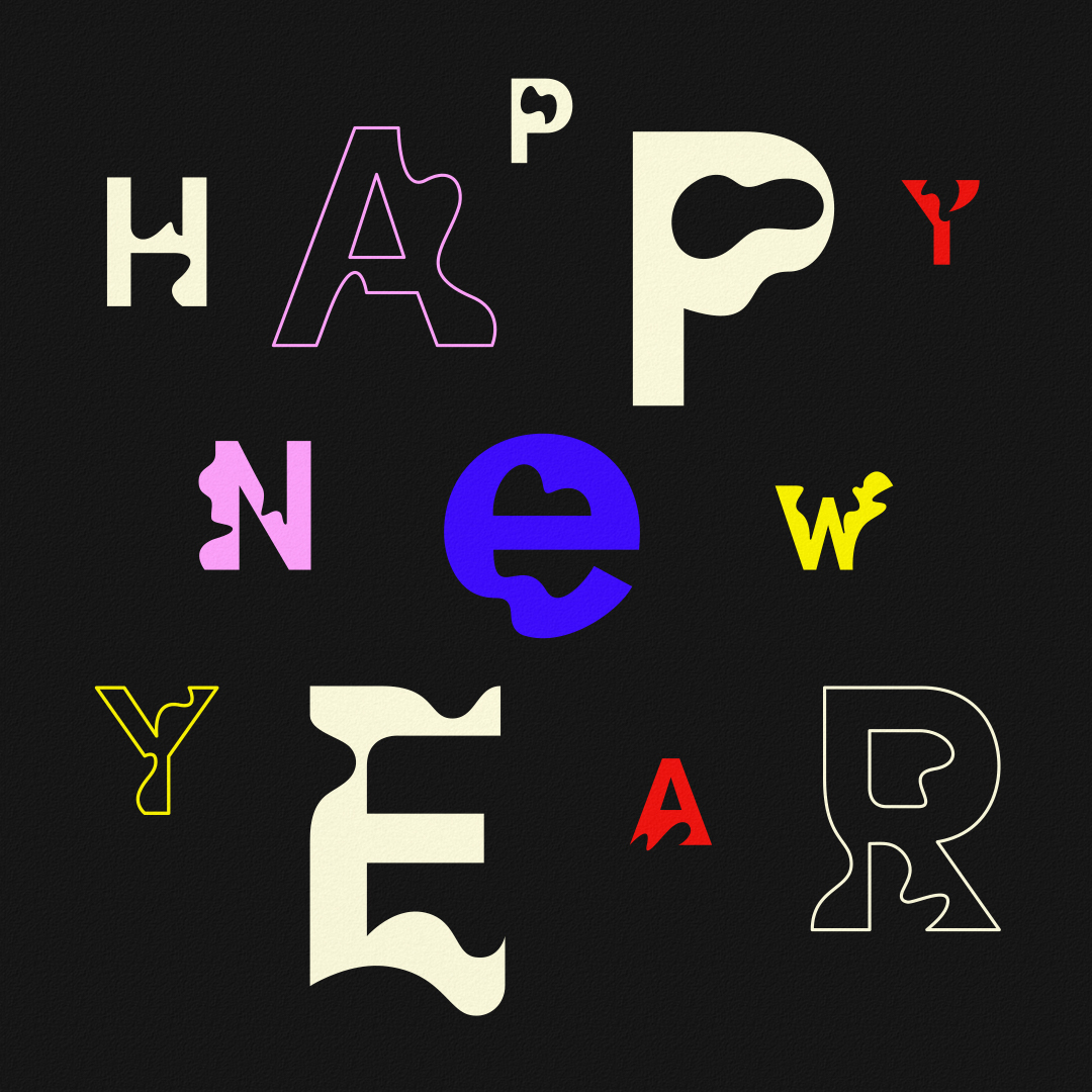 Happy New Year typography designed by Abby Haddican.