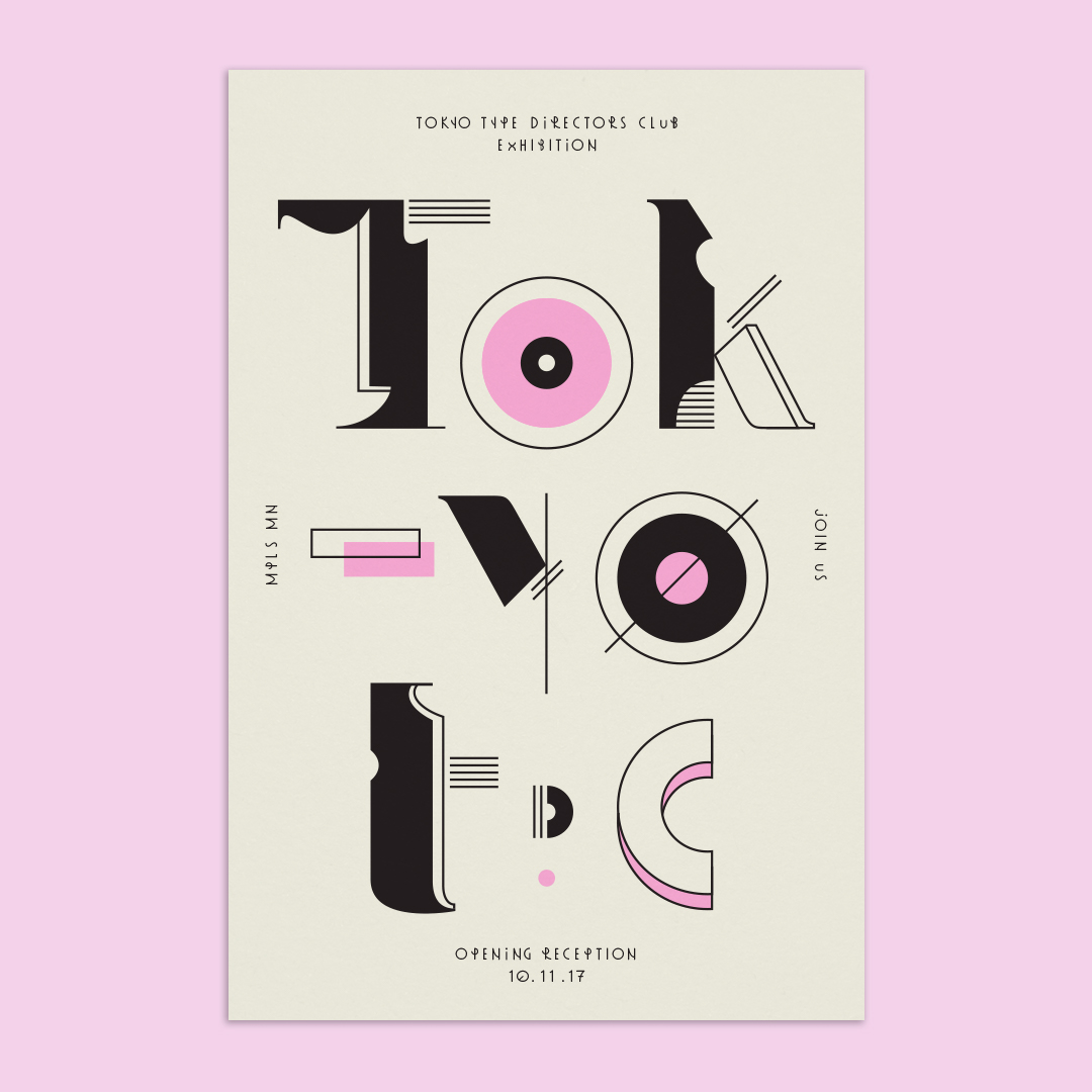 Tokyo Type Directors Club exhibition postcard designed by Abby Haddican