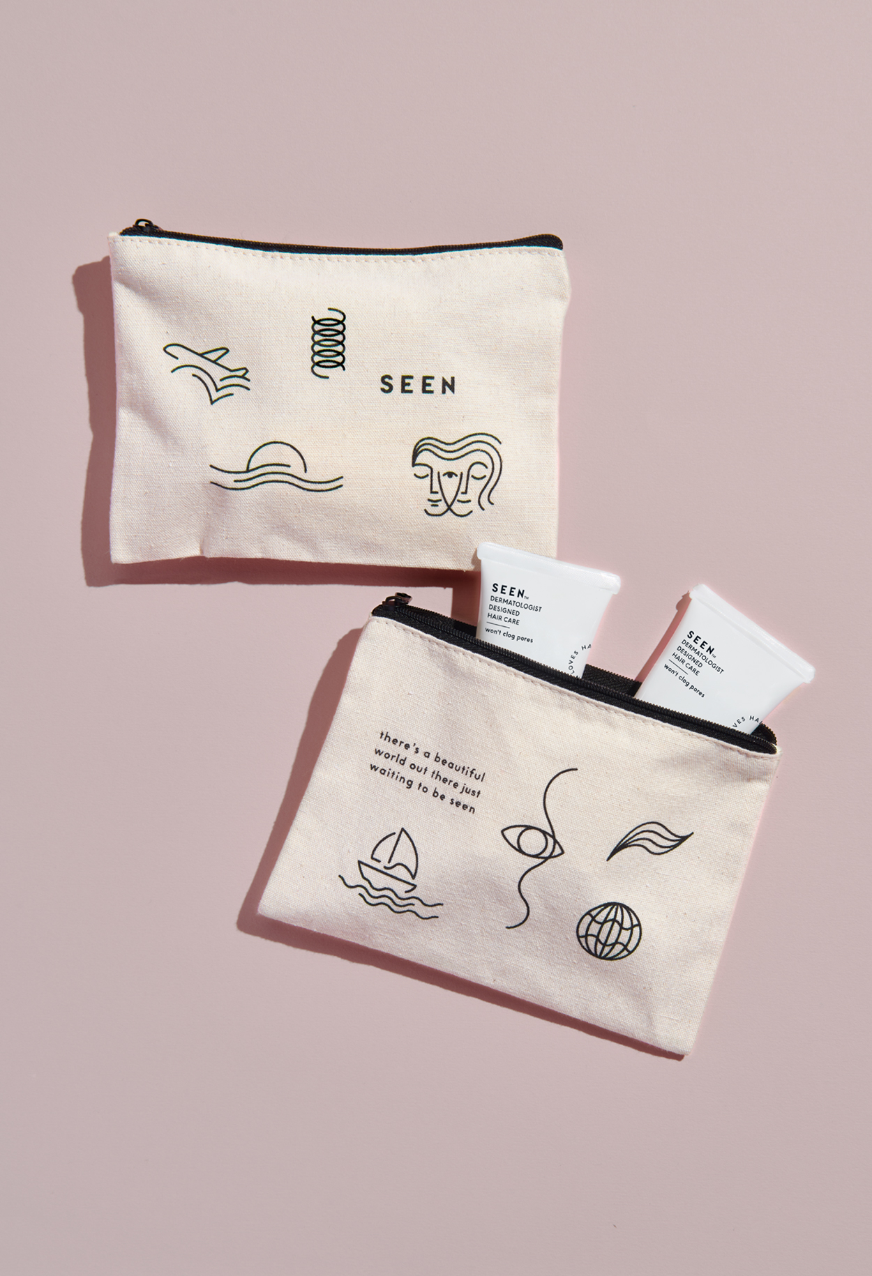 SEEN travel kit designed and illustrated by Abby Haddican at Werner Design Werks