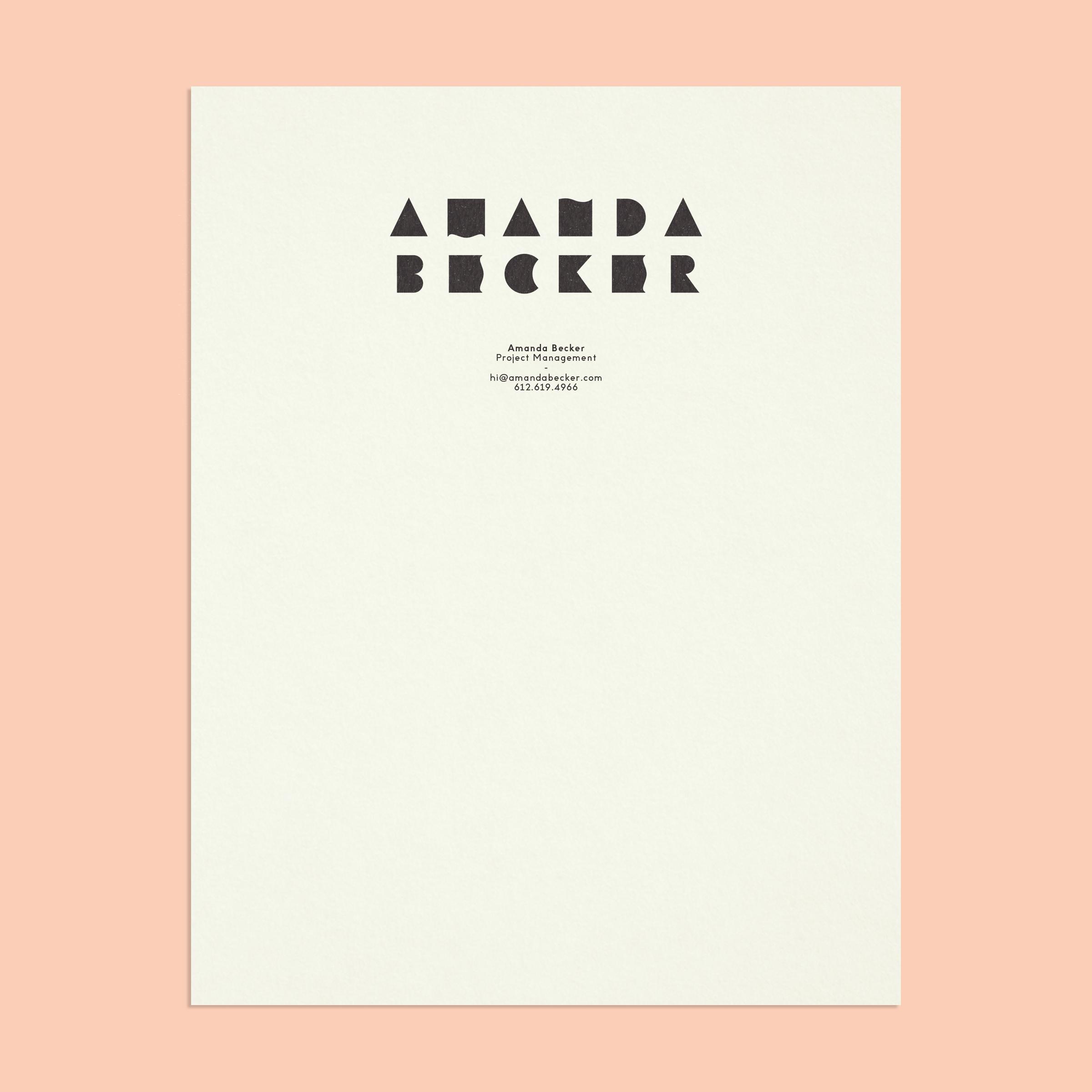 Amanda Becker stationery. Identity designed by Minneapolis designer Abby Haddican.