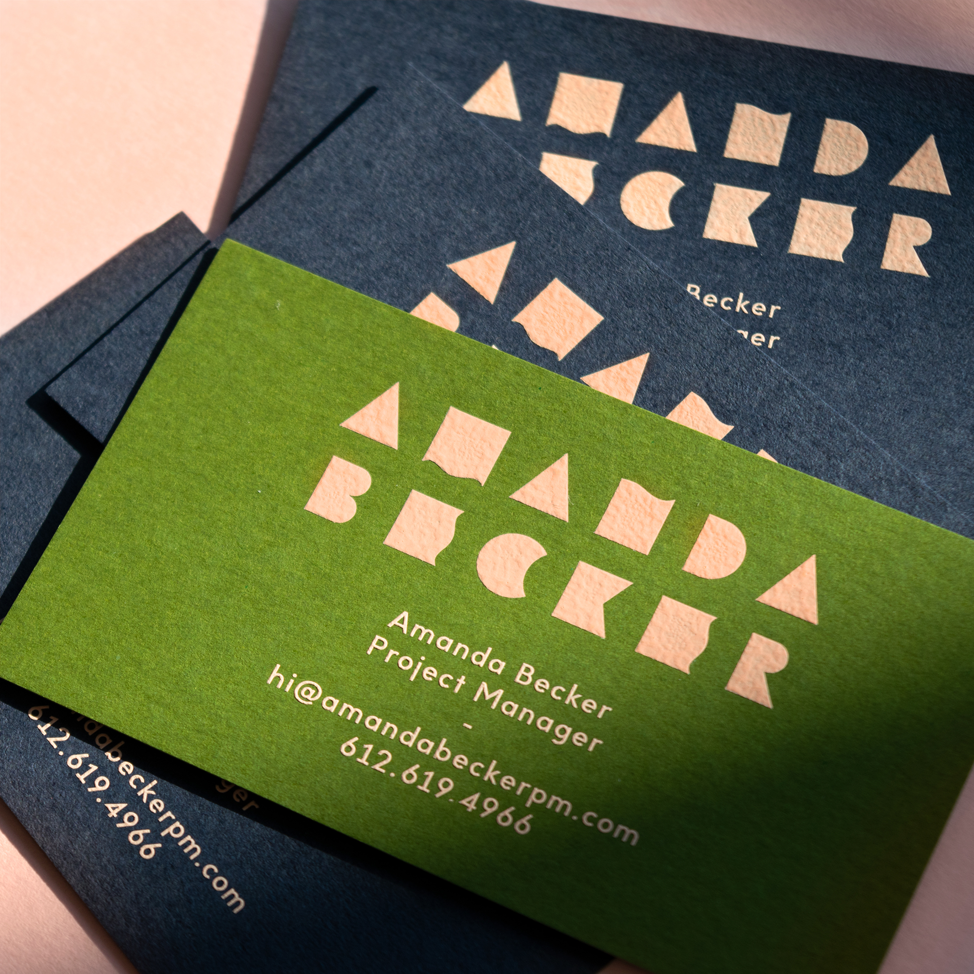 Amanda Becker identity and custom typography designed by Abby Haddican.