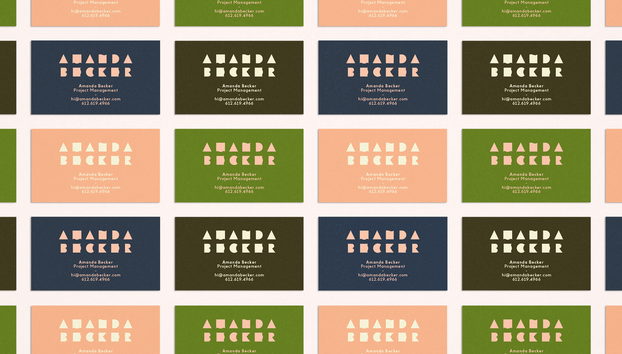 Amanda Becker business cards designed by Abby Haddican Studio.