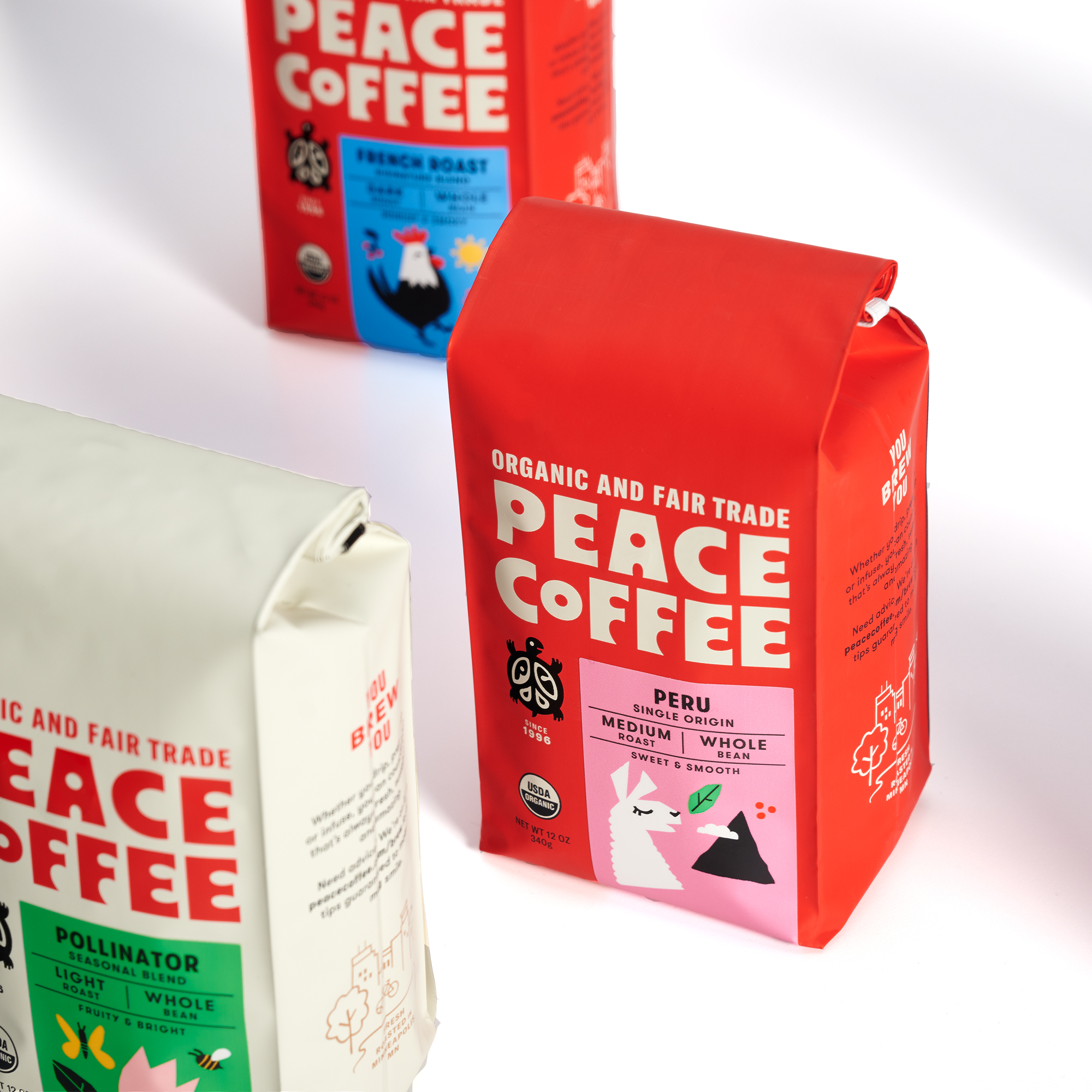Peace Coffee packaging redesign by Abby Haddican Studio in Saint Paul, Minnesota.