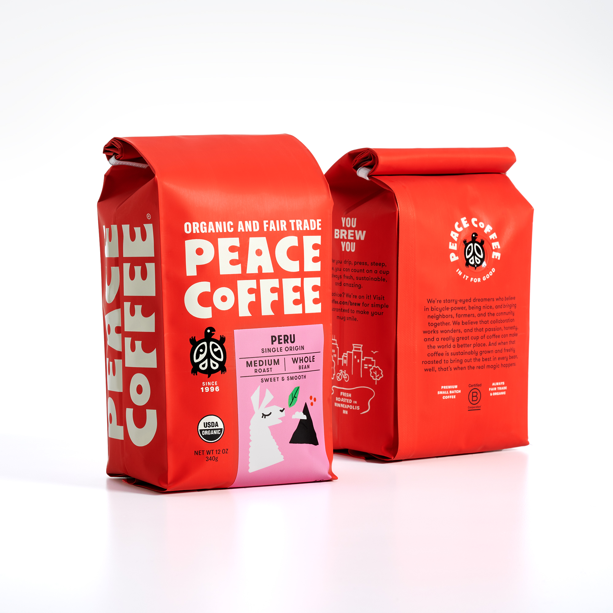 New Peace Coffee branding designed by Abby Haddican Studio, a Minneapolis-based design consultancy.