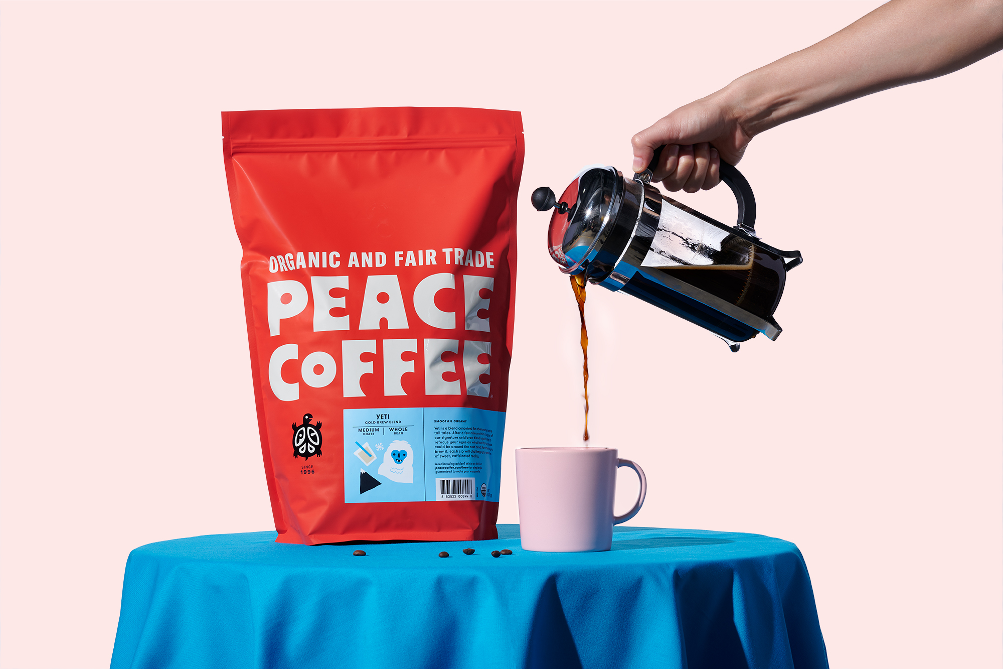 Peace Coffee rebrand, designed by Abby Haddican at Werner Design Werks.