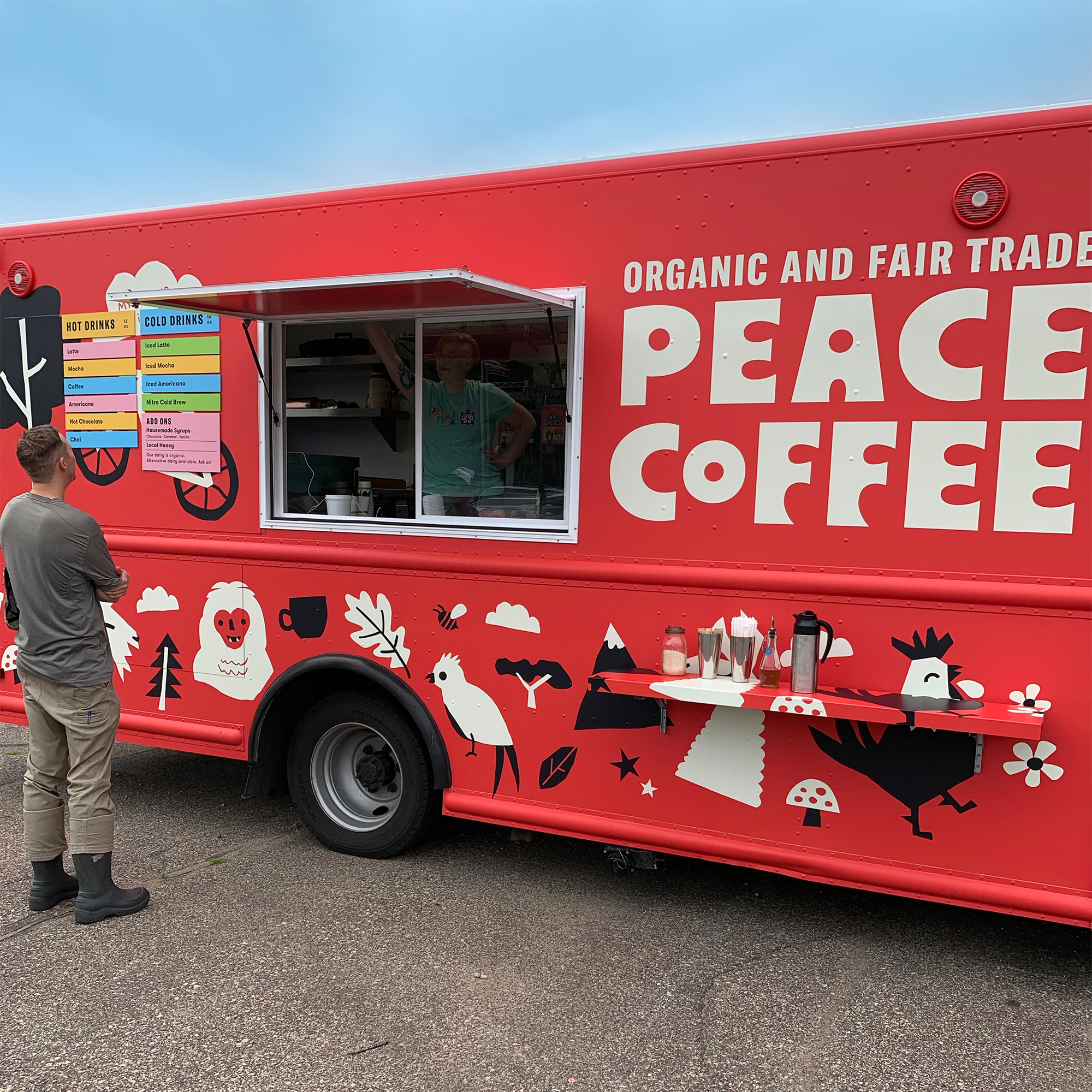 Peace Coffee food truck and modular menu system designed by Abby Haddican.