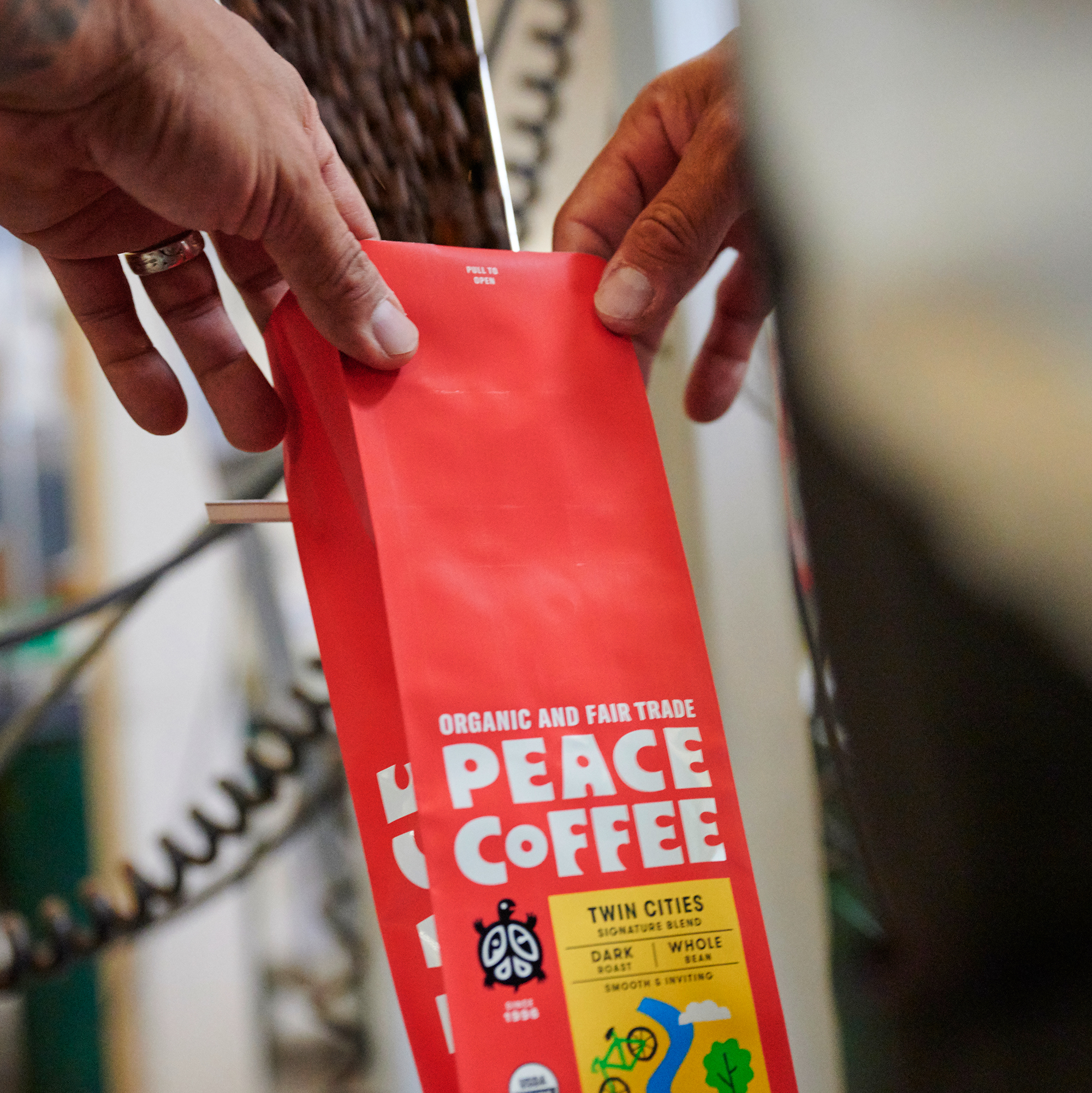 Peace Coffee bags being filled at the Peace Coffee roastery in south Minneapolis, Minnesota.