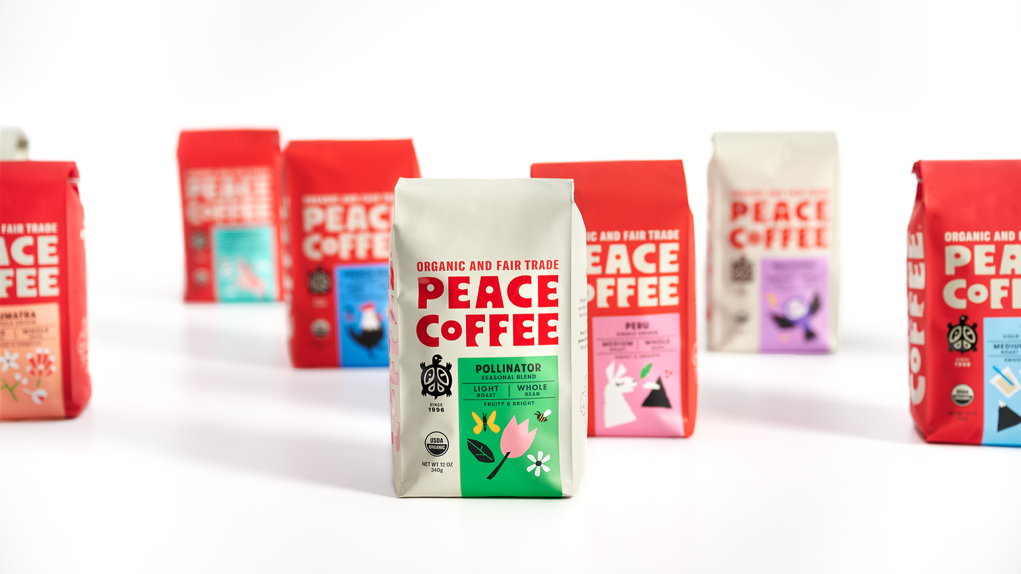 Seasonal and limited edition coffees get a cream-colored bag to distinguish them from Peace Coffee's standard lineup.