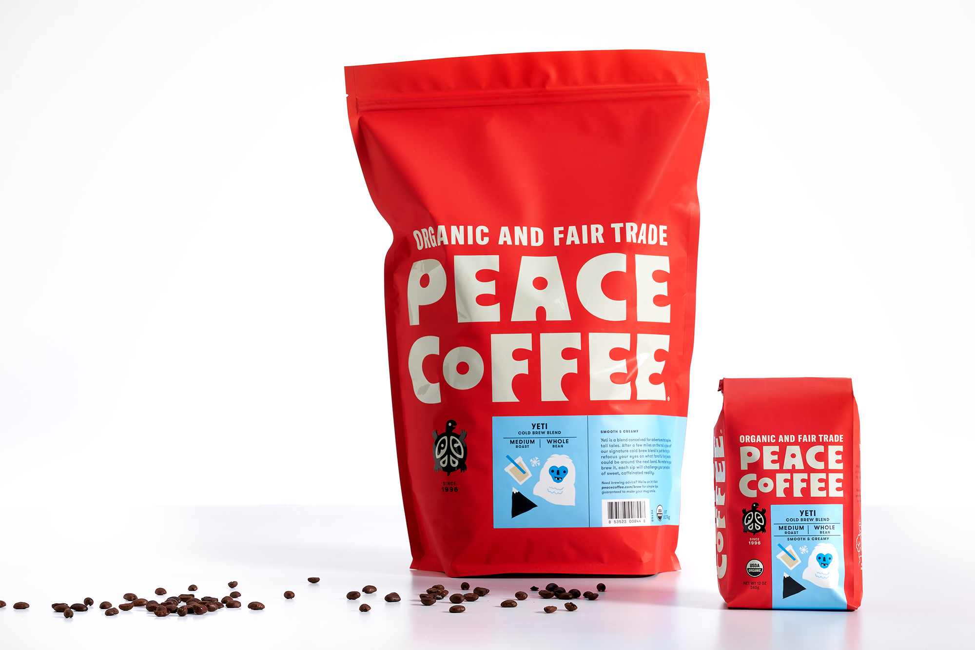 Peace Coffee packaging redesign and brand refresh designed by Abby Haddican.