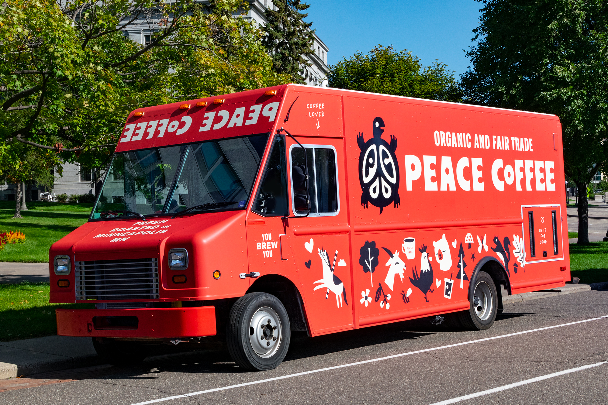 Peace Coffee food truck designed by Abby Haddican at Werner Design Werks.