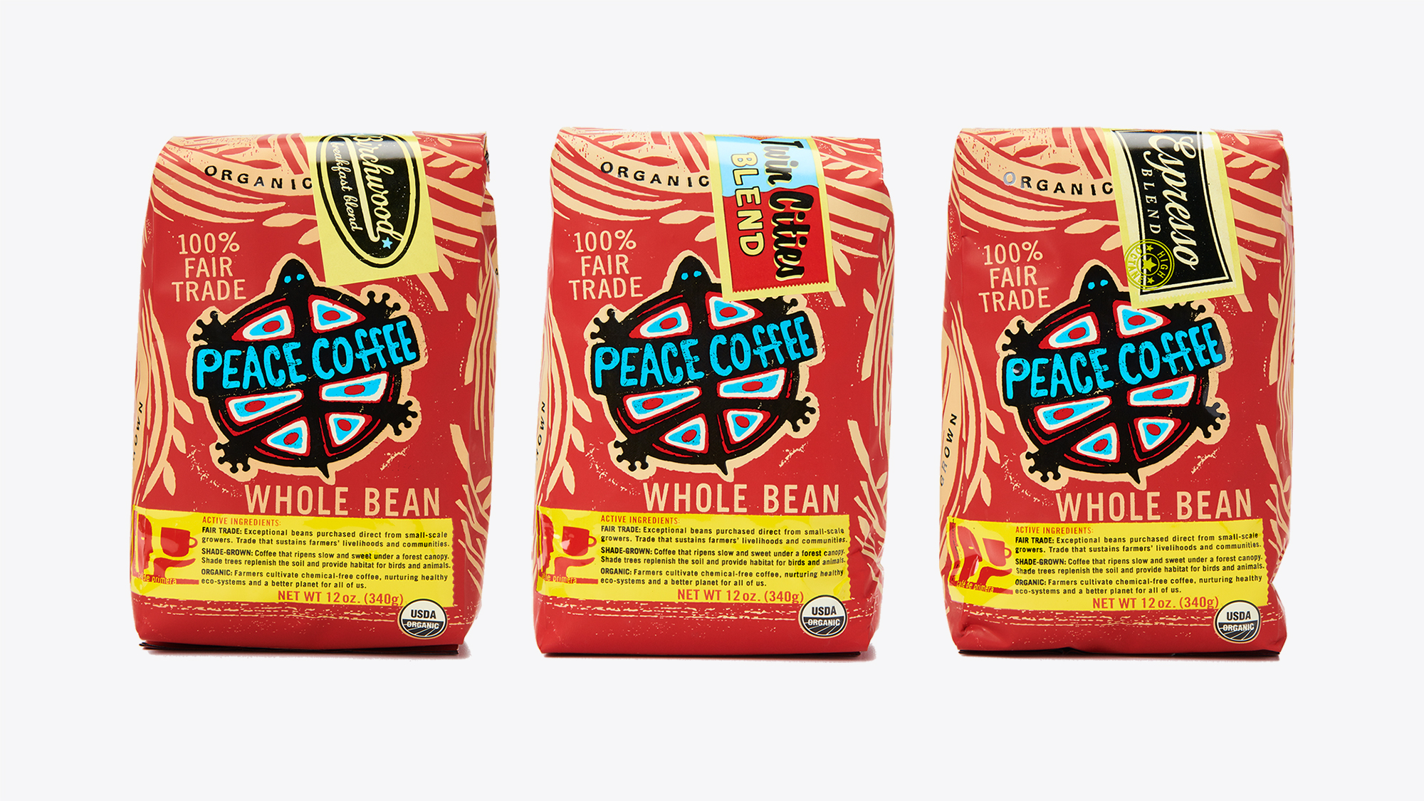 Sample of the old Peace Coffee packaging.
