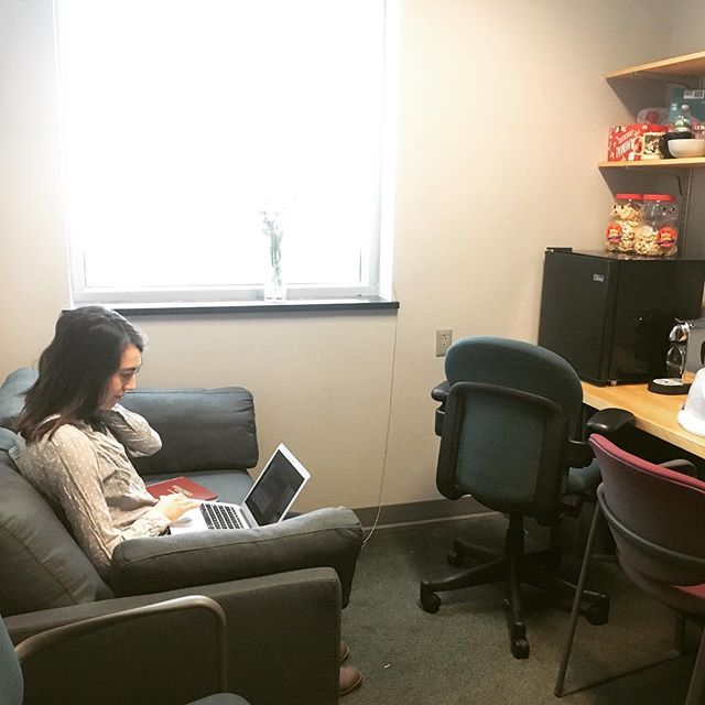 Bad lighting, but the perfect thesis-writing couch has arrived! Mugnier Lab clubhouse is open for business