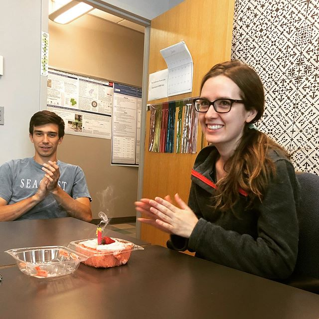 Happy birthday to Jaclyn! We got the lab's favorite strawberry cake to celebrate. Alex in the back, can't wait to start eating the cake 🎂  #scientistsofinstagram #birthdaycelebration