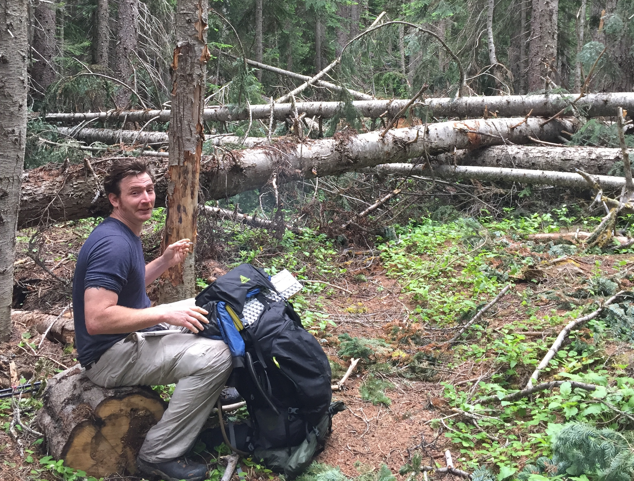 Karma Forward taking a break before a mile section of blow downs near the Methow River, north of Rainy Pass