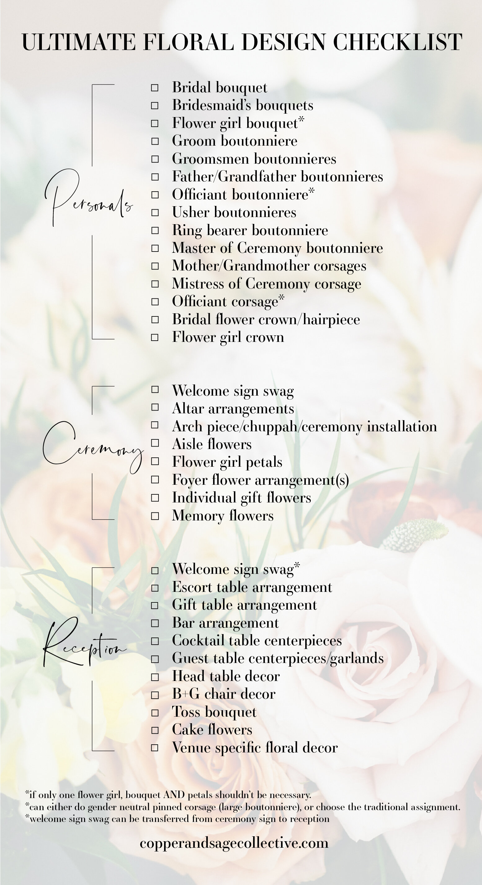 Ultimate Wedding Floral Checklist Copper Sage Collective Creative Florals Photography Michigan And Beyond