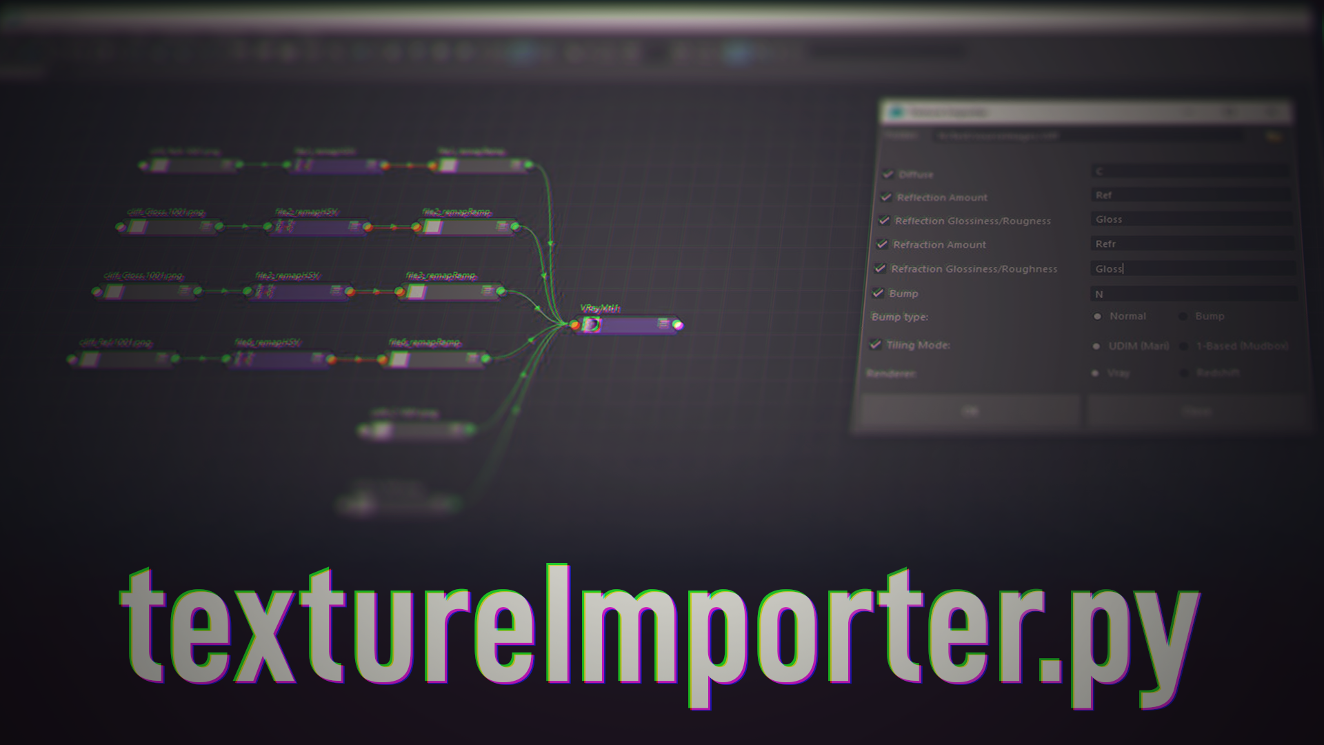 A Maya script to automatically import file textures from a folder, set their parameters, and connect them to a shader.