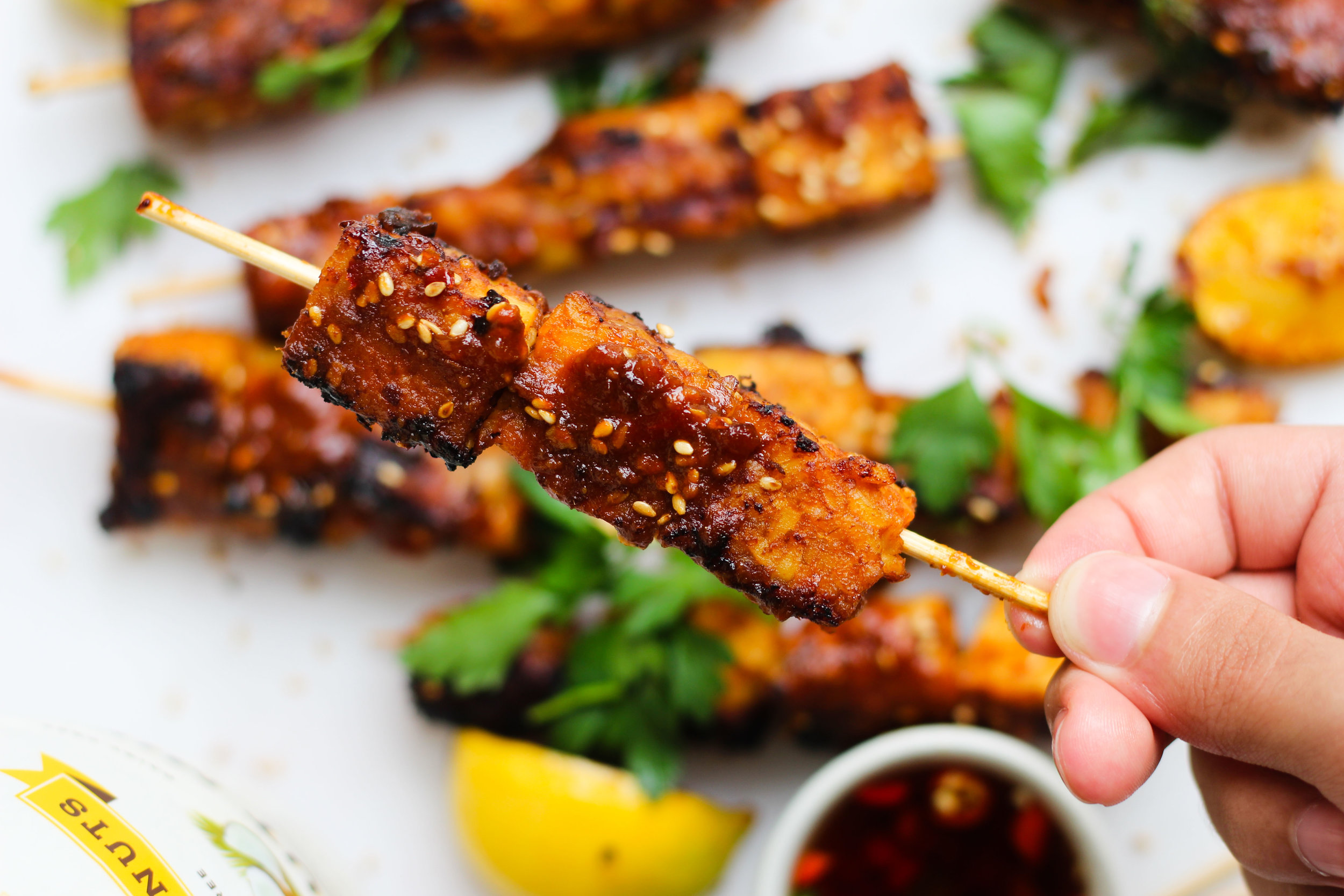 Spicy Coconut Marinated Tempeh Skewers With Chili Sauce
