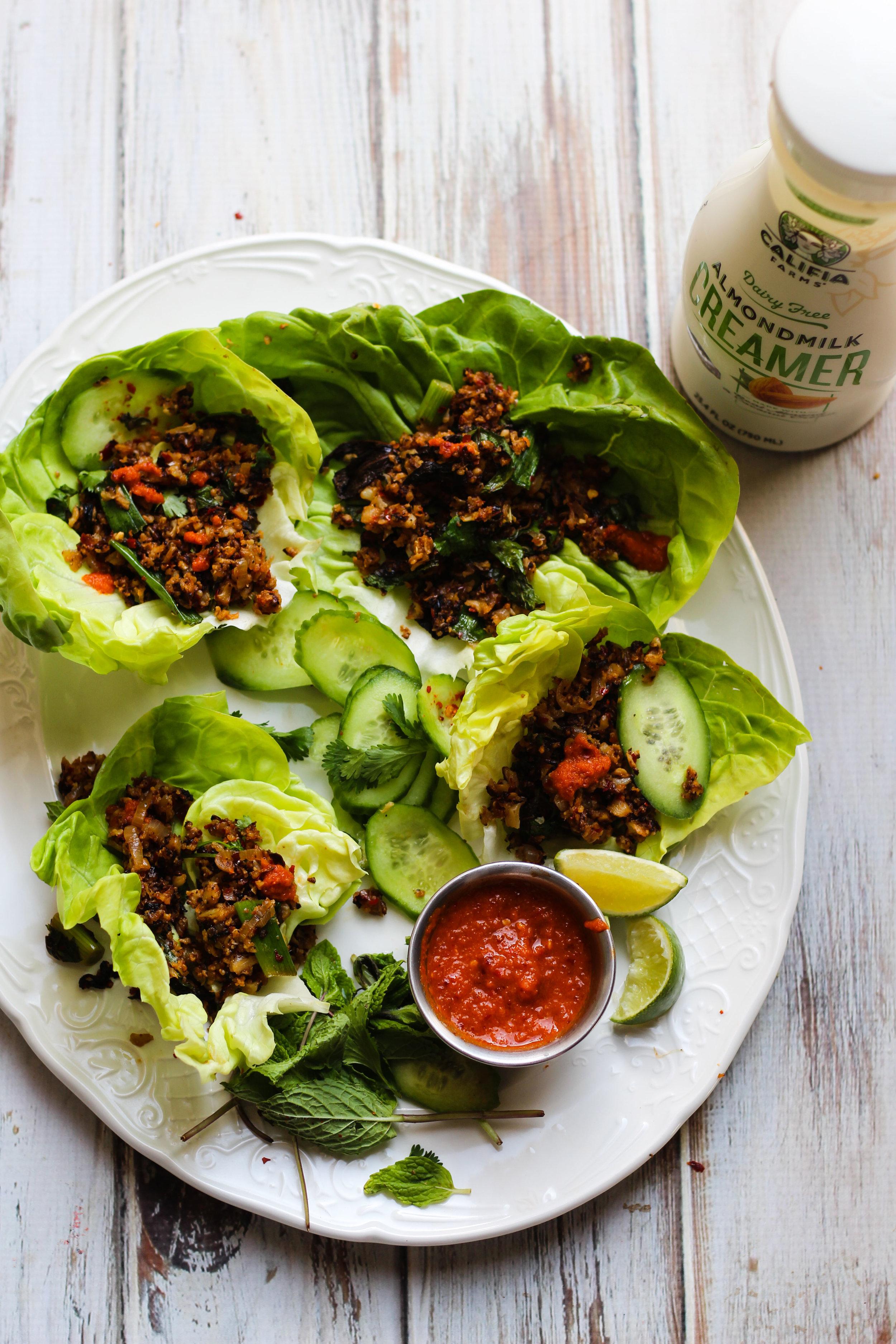 Vegan Cauliflower Larb with Homemade Hot Sauce
