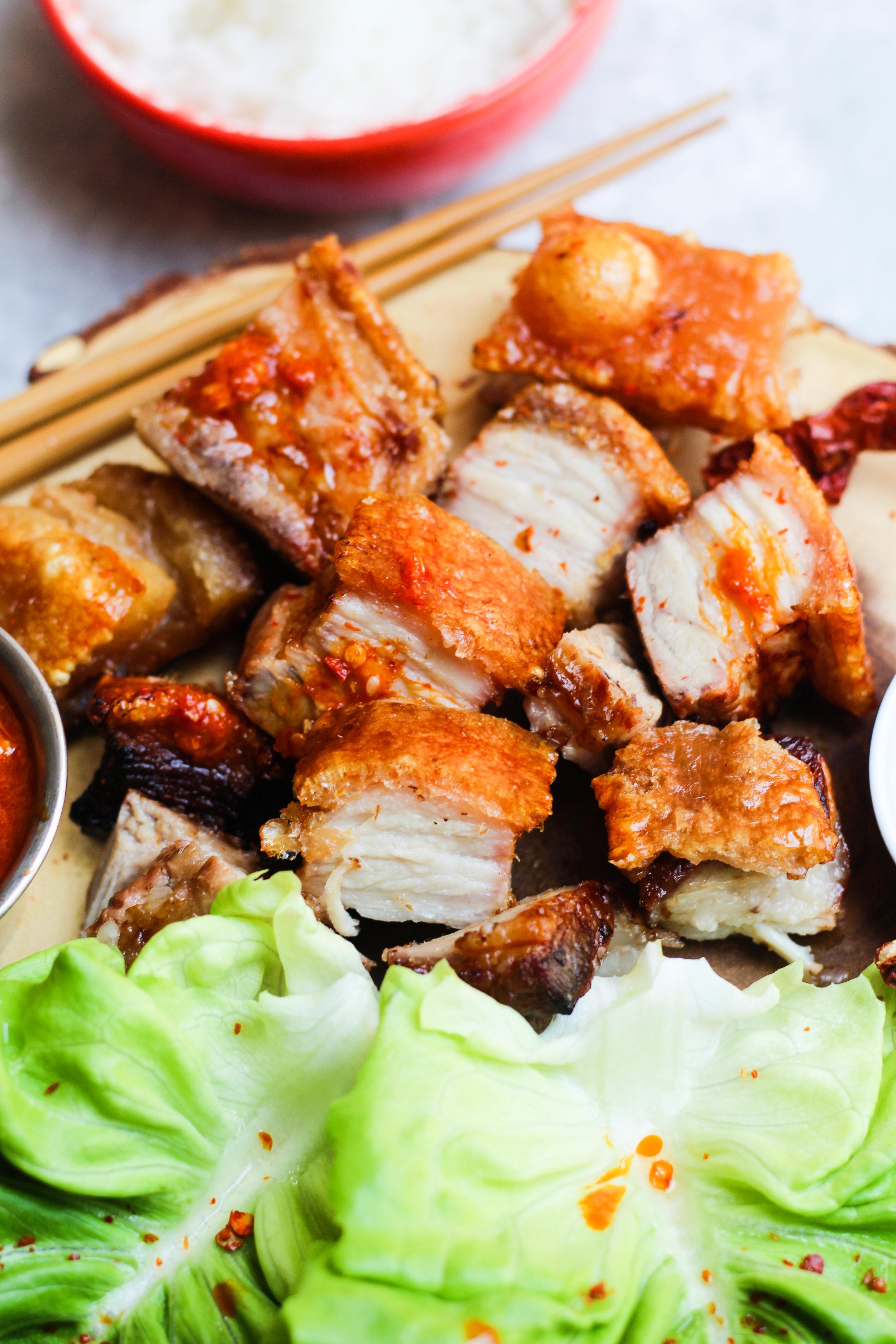 Crispy Pork Belly Wraps