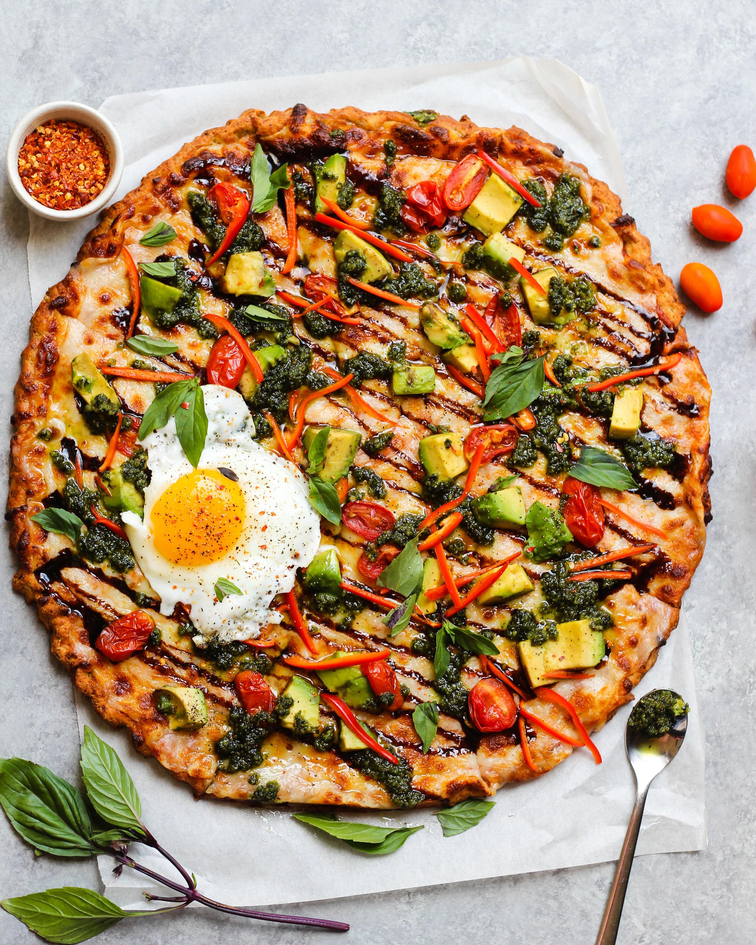 Avocado Caprese Cauliflower Crust Pizza